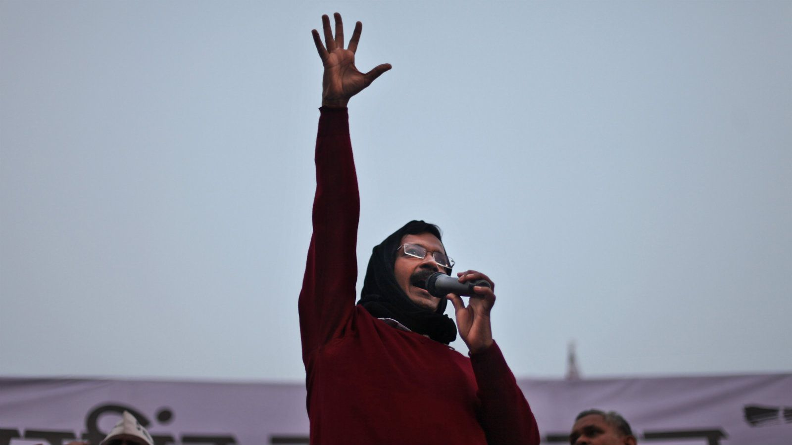 Aam Aadmi Party, or Common Man Party, leader Arvind Kejriwal addresses an election campaign rally in New Delhi, India, Tuesday, Feb. 3, 2015. Delhi will go to the polls on Feb. 7.