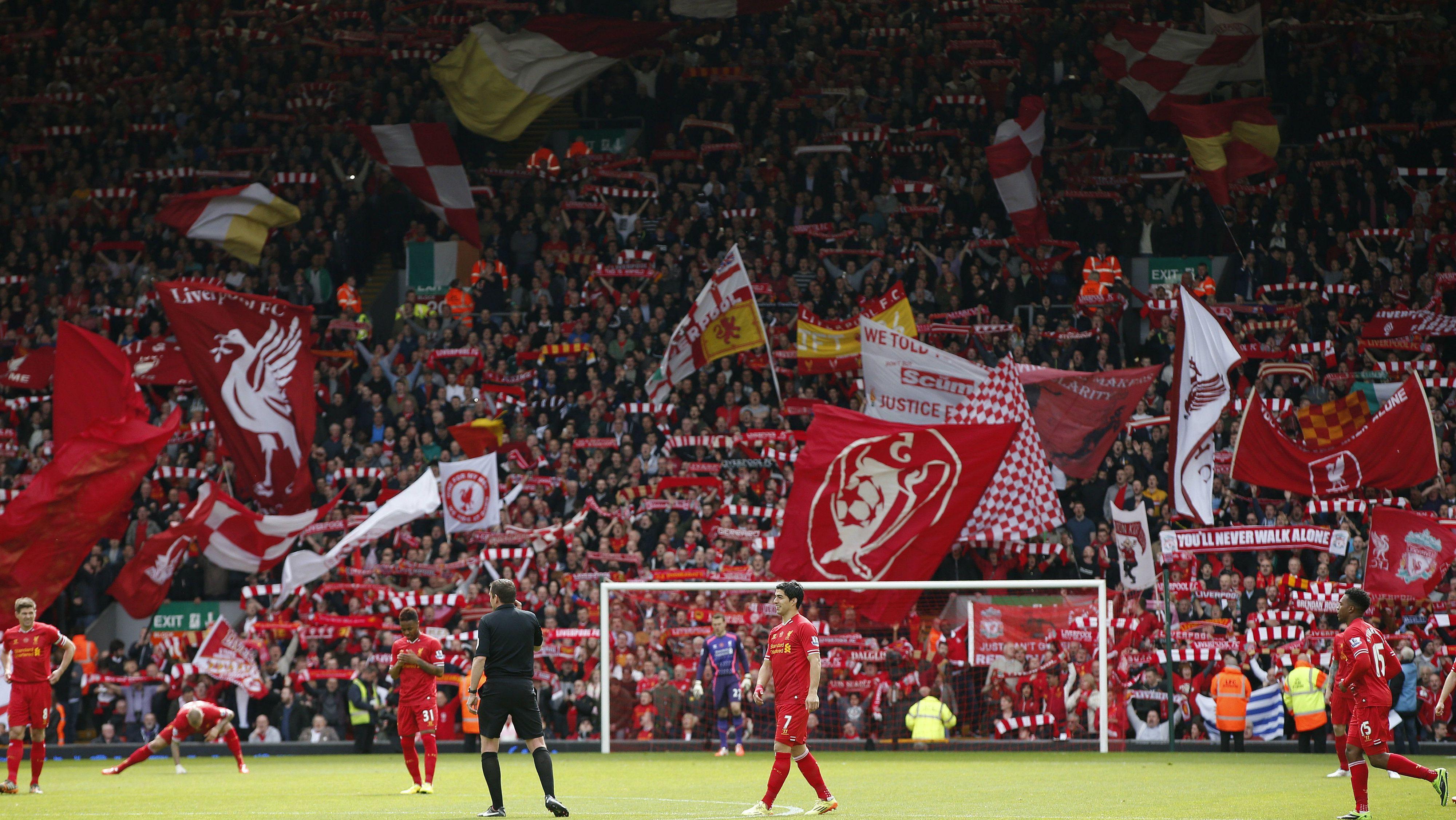 Liverpool FC fans before a Premier League game.