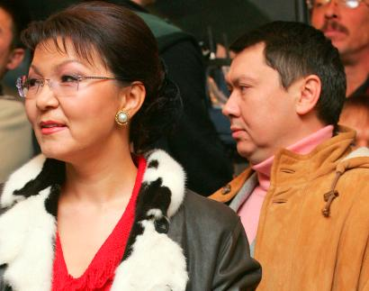 Dariga Nazarbayeva (L), daughter of Kazakh President Nazarbayev, and her husband Rakhat Aliyev are seen in this December 4, 2005 file photo. Kazakh President Nursultan Nazarbayev ordered law enforcement agencies on May 23, 2007 to investigate activities of his son-in-law, Aliyev, whom police accused of kidnapping two senior Kazakh bank officials.