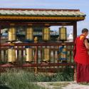 A Buddhist monk talks on his mobile phone at the courtyard of Erdene Zeu monastery in Kharahorin, some 380 km (236 miles) west of Ulan Bator.