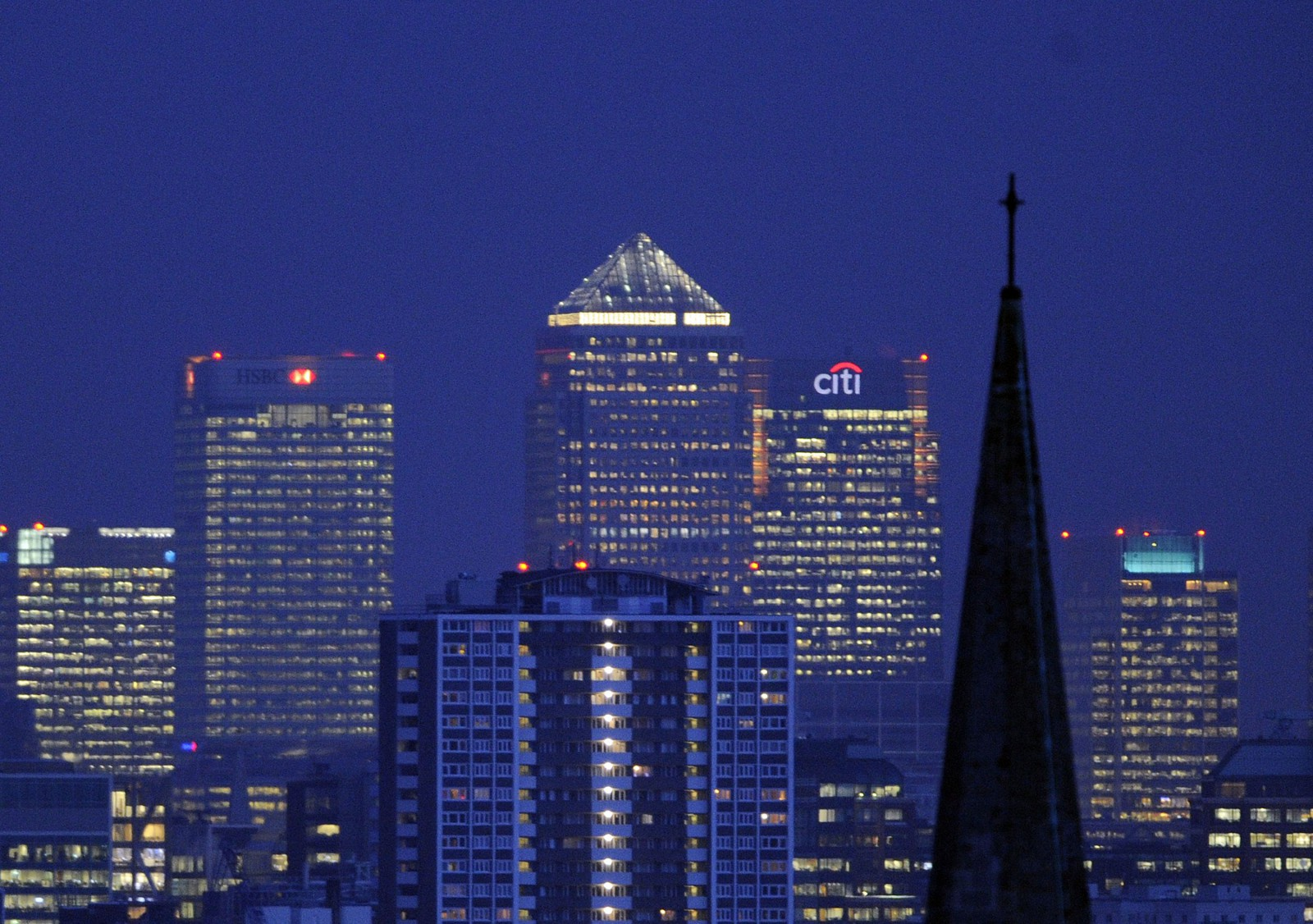 London's financial district seen at night.