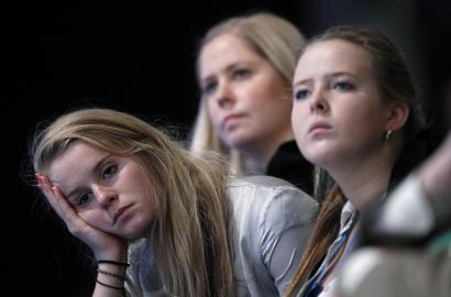 Young conference goers listen to the schools presentation on the third day of the Conservative Party Conference in Manchester, northern England October 4, 2011