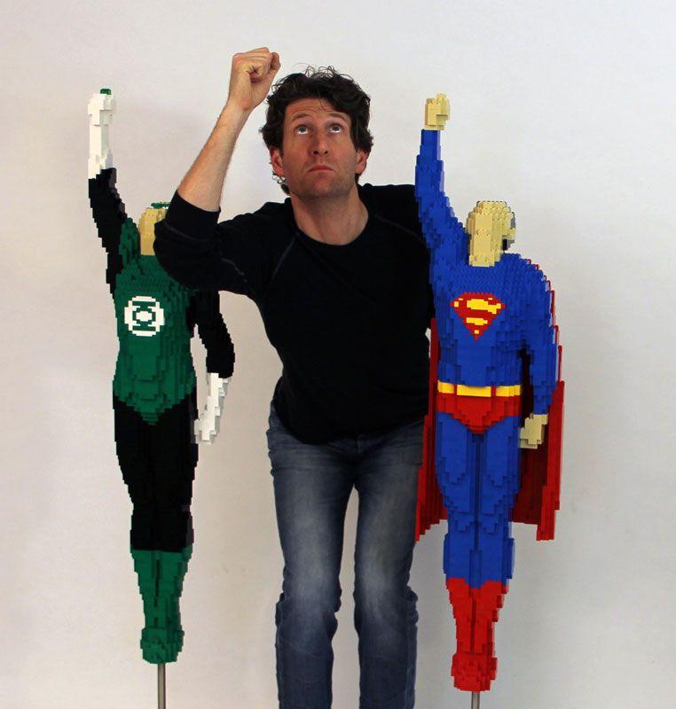 Nathan Sawaya Superman Green Lantern
