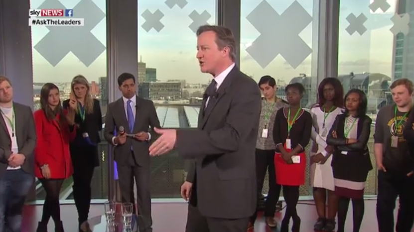 """David Cameron speaks to young people at the """"Ask the Leaders"""" event in London."""
