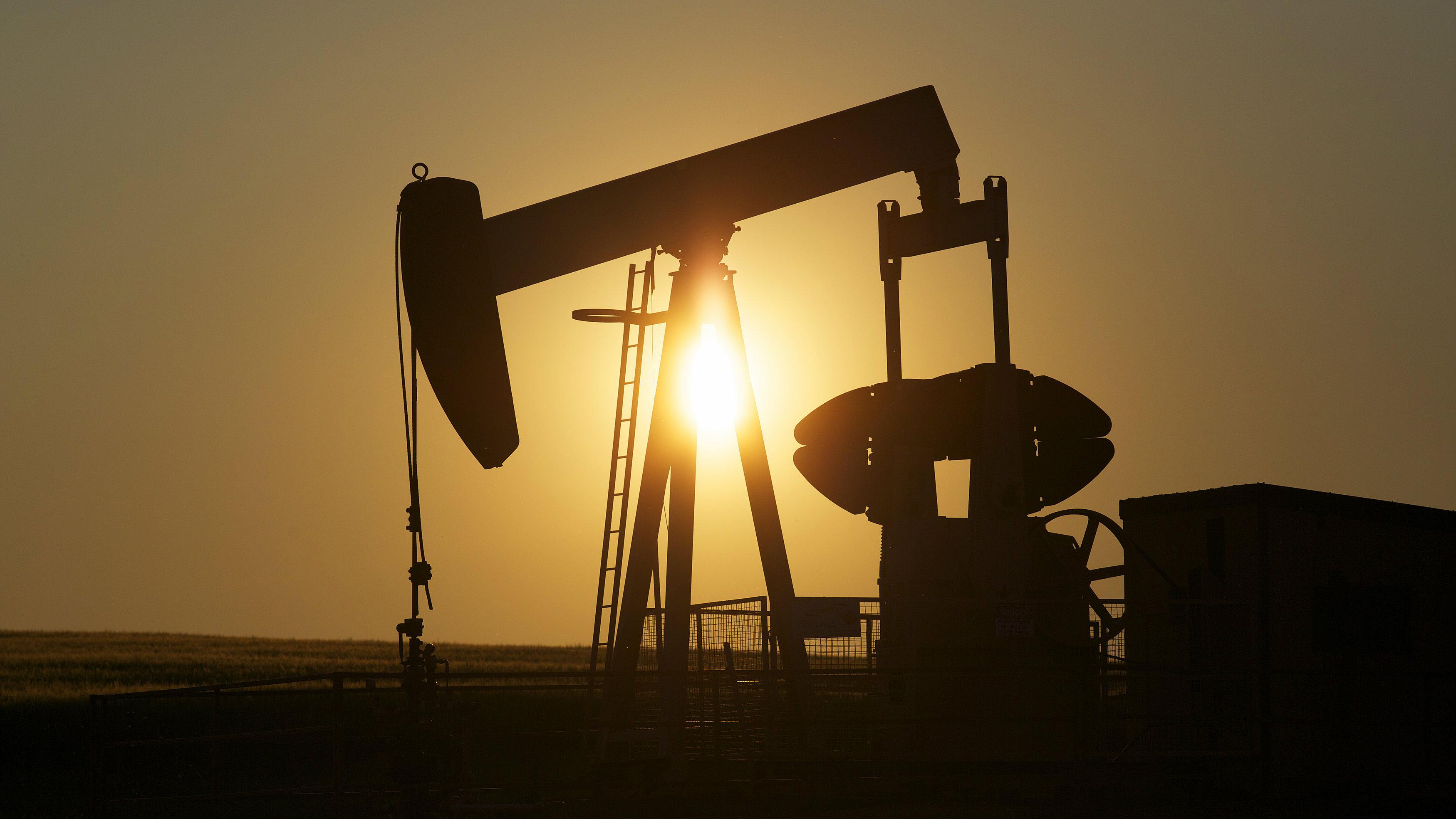 An oil pump jack pumps oil in a field near Calgary, Alberta, July 21, 2014.