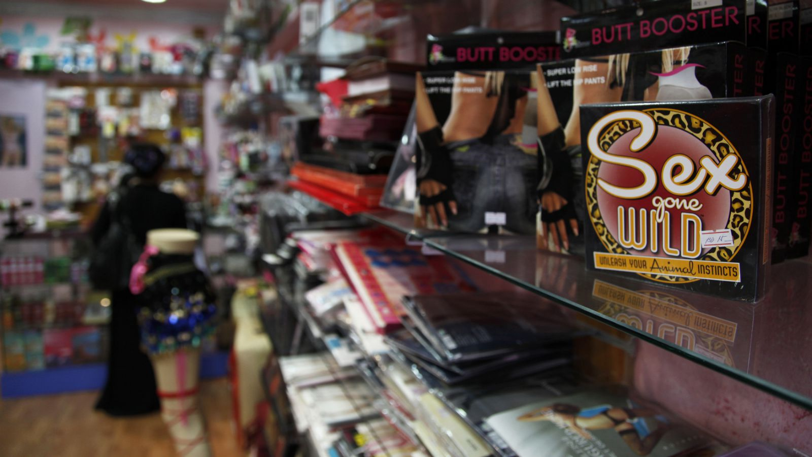 Sex-related merchandise is displayed in Khadija Fashion House in Manama June 9, 2010. Khadija Ahmed's sex shop has survived against all odds and some particularly intense scrutiny from customs officials since it opened in Bahrain in 2008. To match Reuters Life! BAHRAIN-SEXSHOP/
