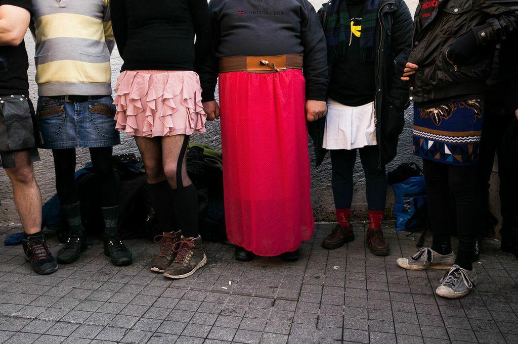 Turkish men protesting on Feb. 21 in Istanbul, Turkey.