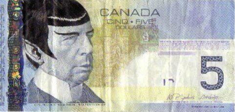 "Image result for canada 5 dollar bill spock"""