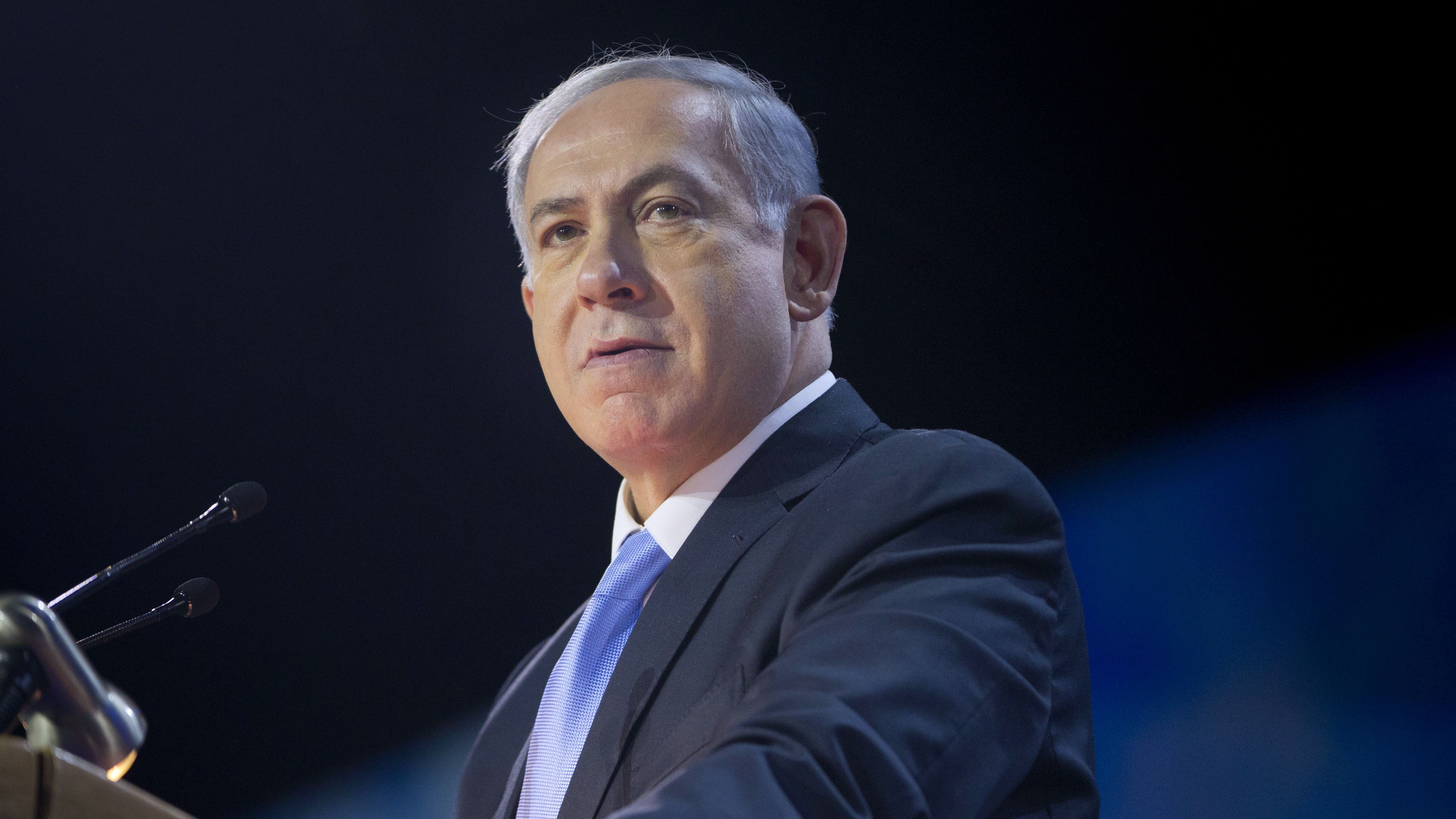 Israeli Prime Minister Benjamin Netanyahu speaks at the American Israel Public Affairs Committee (AIPAC) Policy Conference in Washington, Monday, March 2, 2015. Netanyahu is seizing the high-profile bully pulpit of the U.S. House to deliver his stern message about the dangers of a nuclear deal that President Barack Obama and U.S. allies might sign with Israelís archenemy.  (AP Photo/Pablo Martinez Monsivais)
