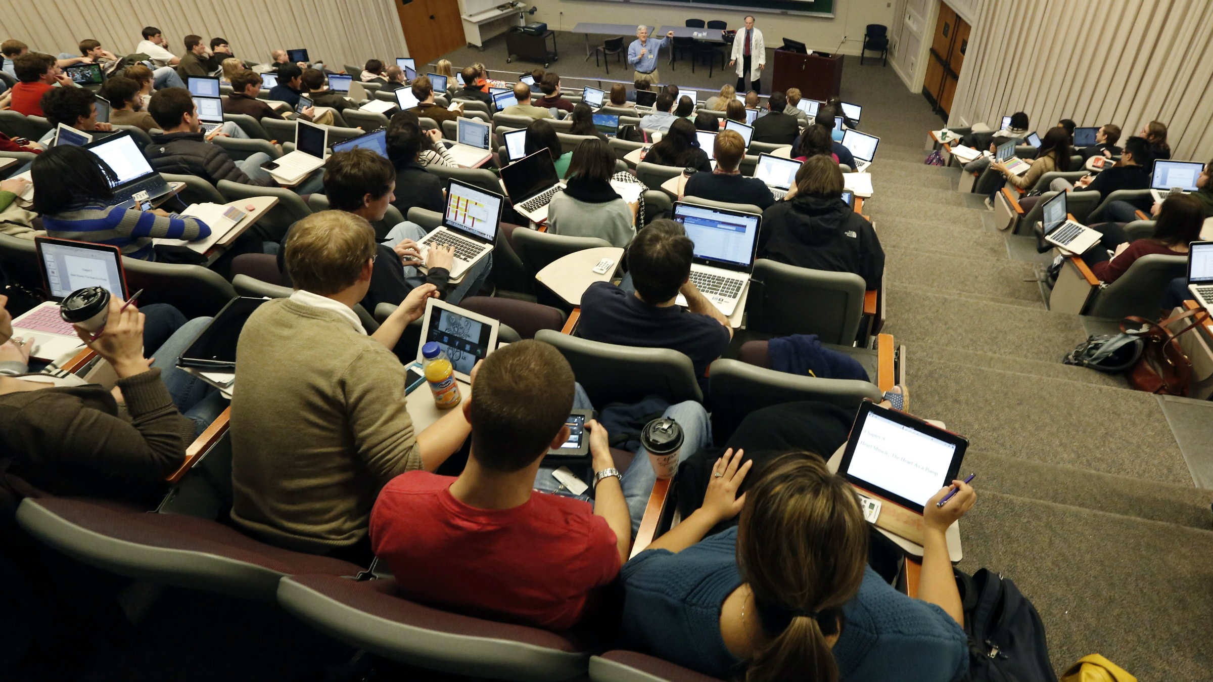Students cram into an old lecture hall at the University of Mississippi Medical School.
