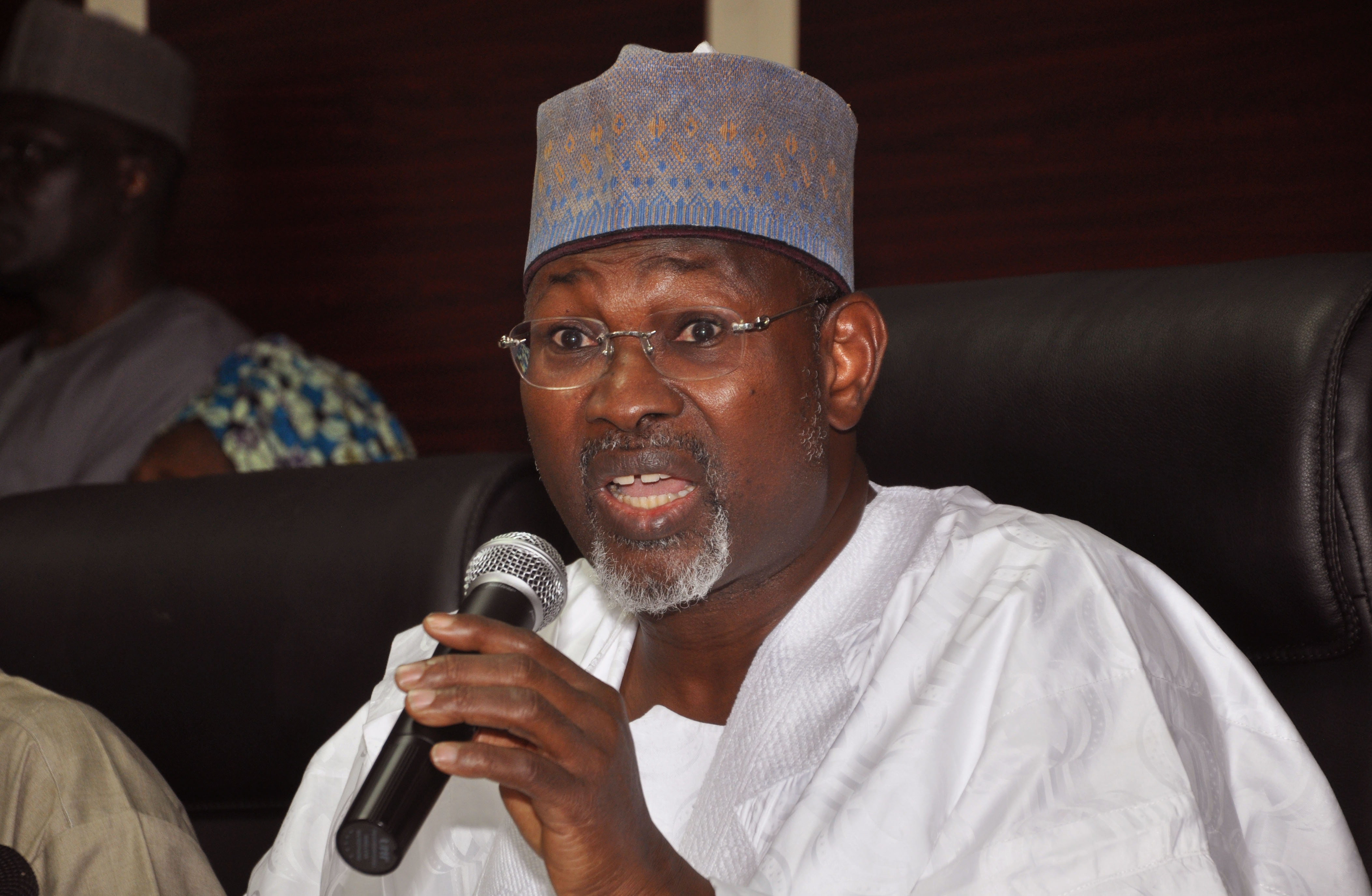 Independent National Electoral Commission Chairman, Attahiru Jega, speak during a news conference Saturday night as the Nigerian Elections postponement is announced  in the city of Abuja, Nigeria, Saturday, Feb. 7, 2015. Nigeria is postponing presidential and legislative elections until March 28 because security forces fighting Boko Haram extremists cannot ensure voters' safety around the country, the electoral commission announced Saturday in a decision likely to infuriate the opposition. (AP Photo/Olamikan Gbemiga)