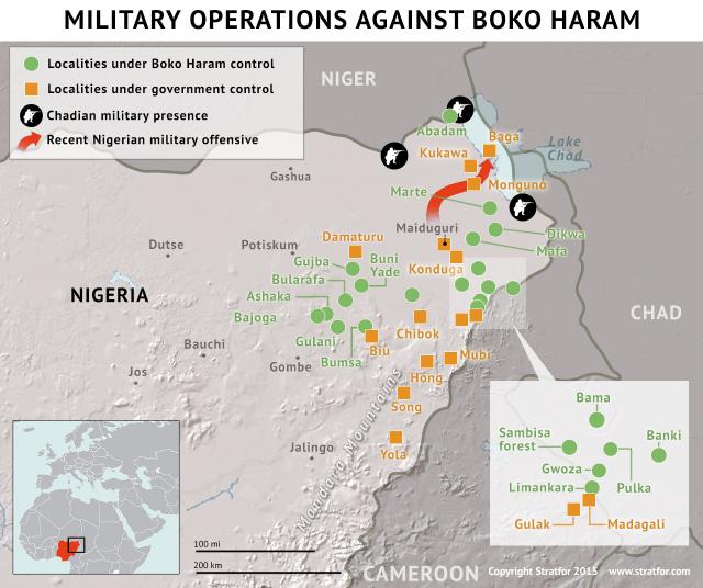 Map of Boko Haram towns