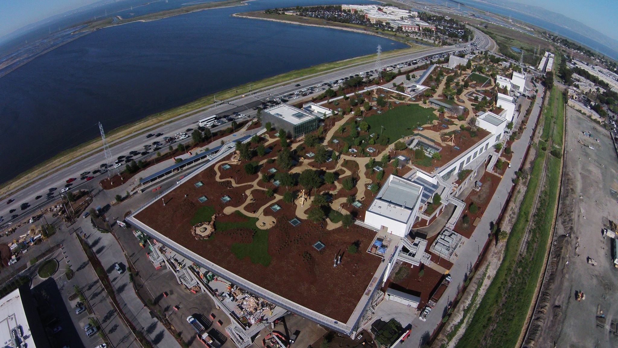 Aerial photograph of Facebook's new Menlo Park campus.