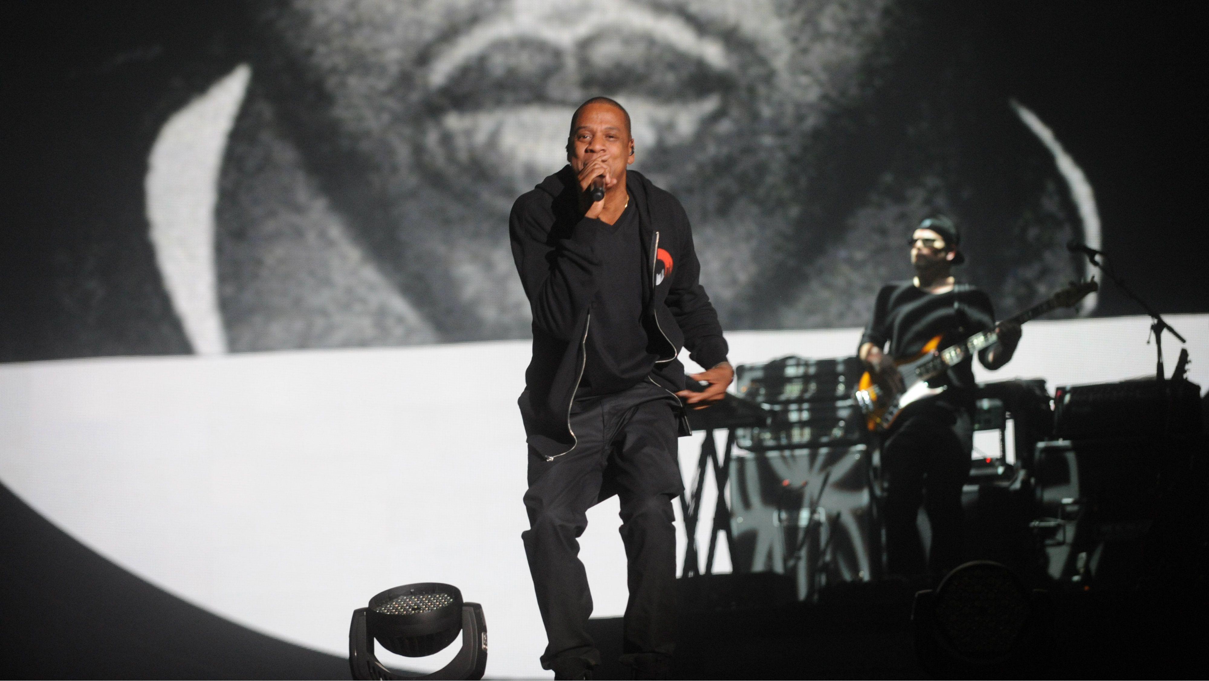Jay-Z performing.