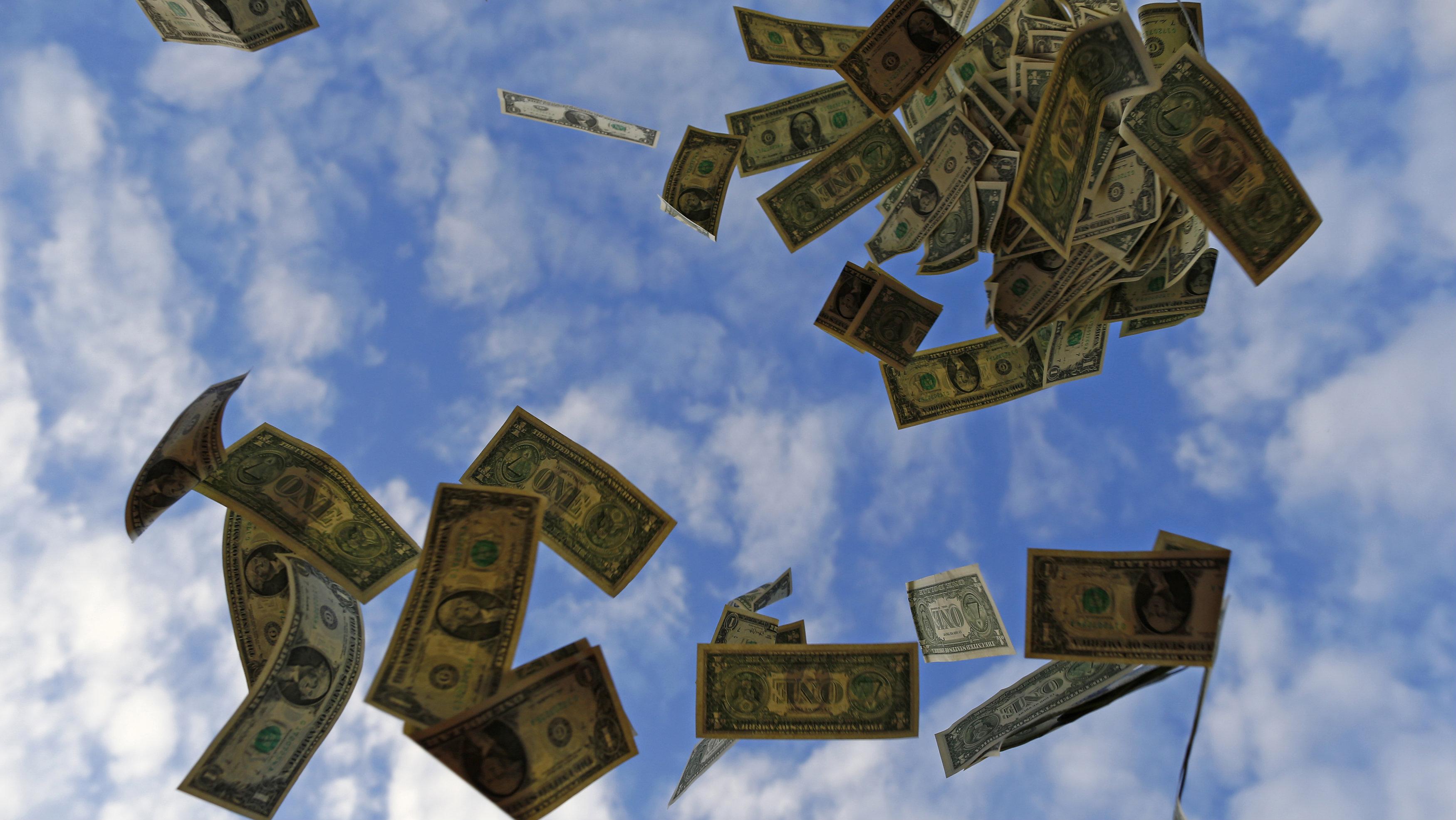 money falling from sky