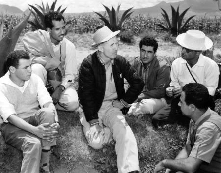 Norman Borlaug (center) in the field in Mexico with a group of young international trainees.
