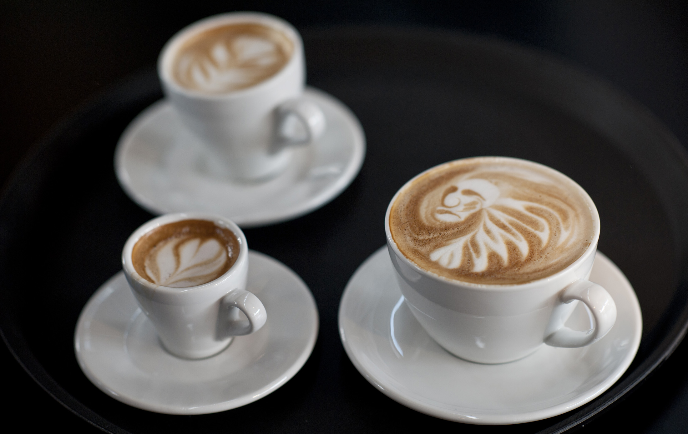 Latte art is displayed during the finals of the German Barista Championships in Hamburg.
