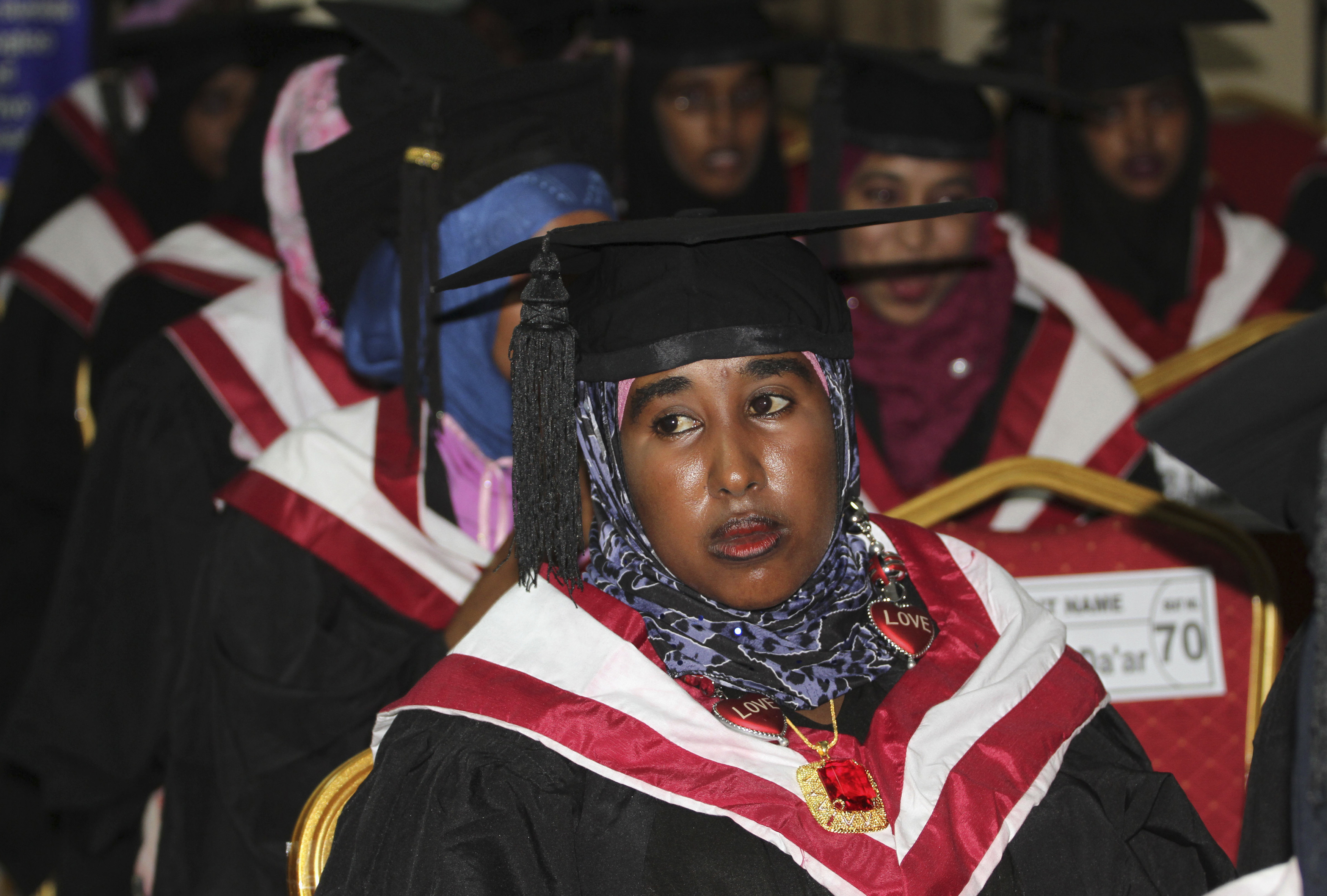 A girl looks on as she attends her graduation ceremony, along with 600 other students of SIMAD University, in Mogadishu November 29, 2012. REUTERS/Omar Faruk (SOMALIA - Tags: EDUCATION SOCIETY) - RTR3B0RK