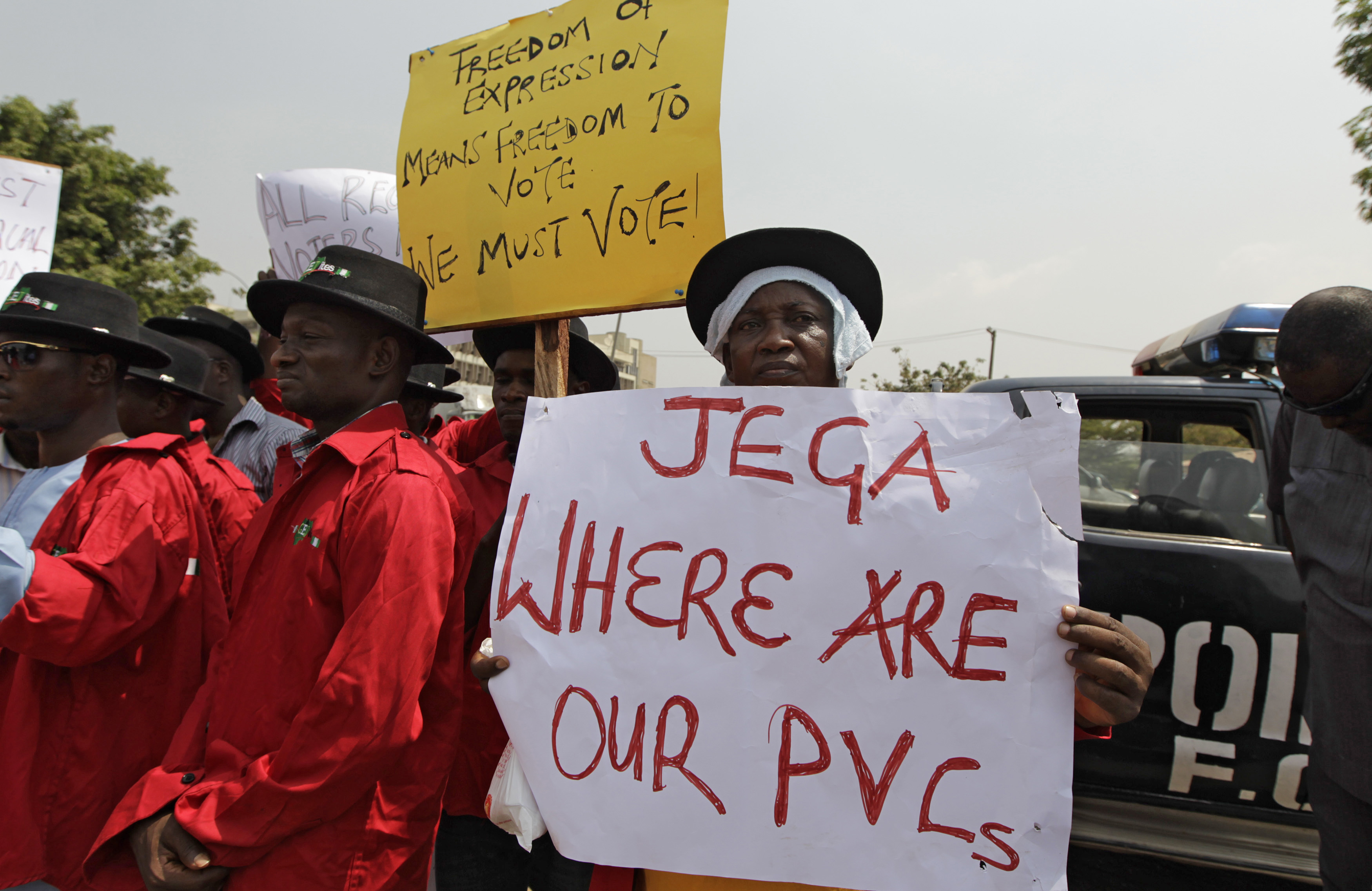 Demonstrators gather at the Independent National Electoral Commission office in Abuja,