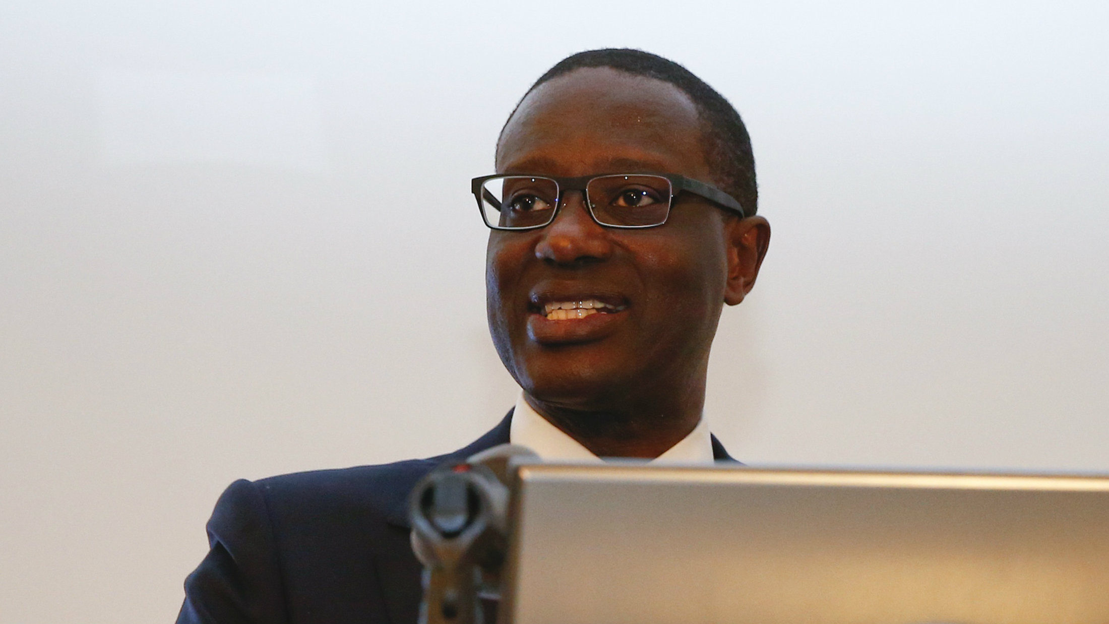 Tidjane Thiam speaks during a Credit Suisse news conference in Zurich, March 10, 2015.