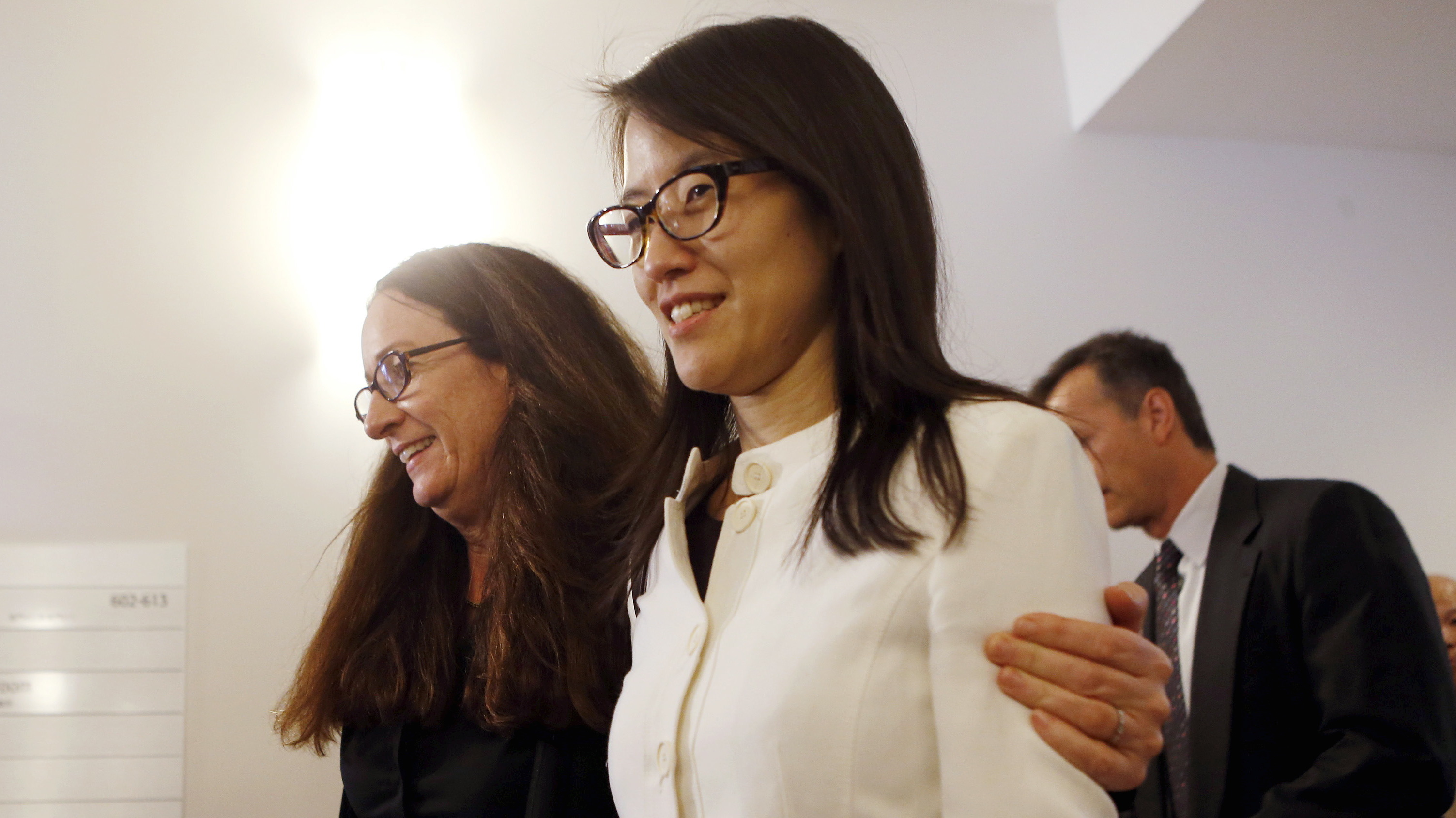 Ellen Pao and attorney Therese Lawless leave the courtroom after losing in Pao's high profile gender discrimination lawsuit against venture capital firm Kleiner, Perkins, Caufield and Byers in San Francisco, California March 27, 2015.
