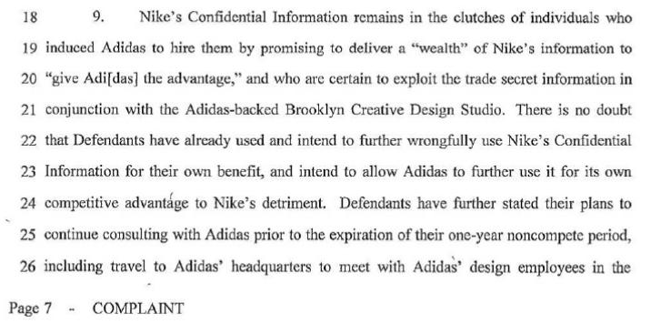 Nike, court filing, lawsuit, denis dekovic, marc dolce, mark miner, adidas, trade secrets, cluthes