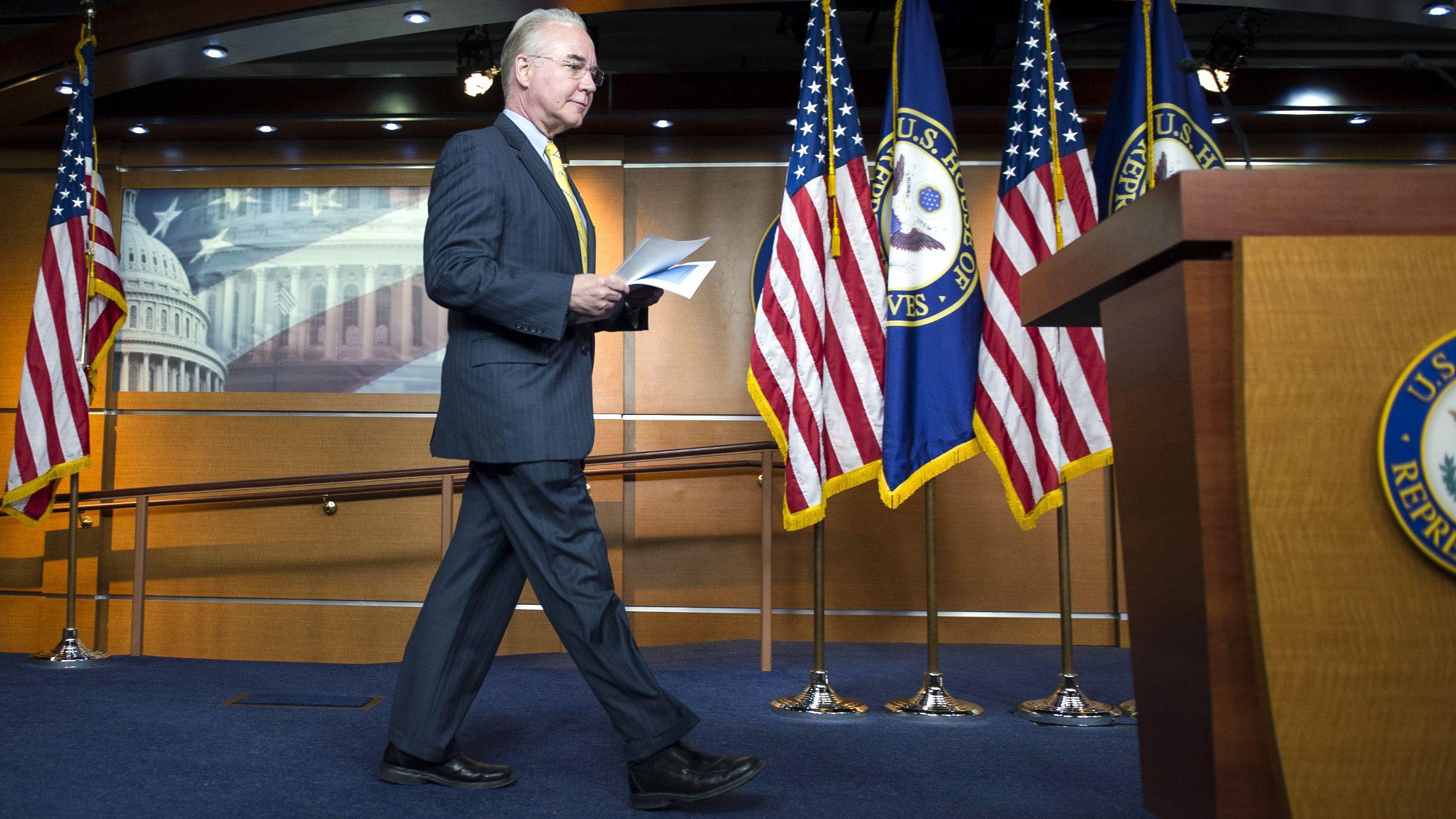 House Budget Committee Chairman Rep. Tom Price, R-Ga., walks to a podium to announce the House Republican budget proposal, Tuesday, March 17, 2015, on Capitol Hill in Washington. The plan includes a boost in defense spending but cuts in the Medicaid program for the poor, food stamps and health care subsidies.