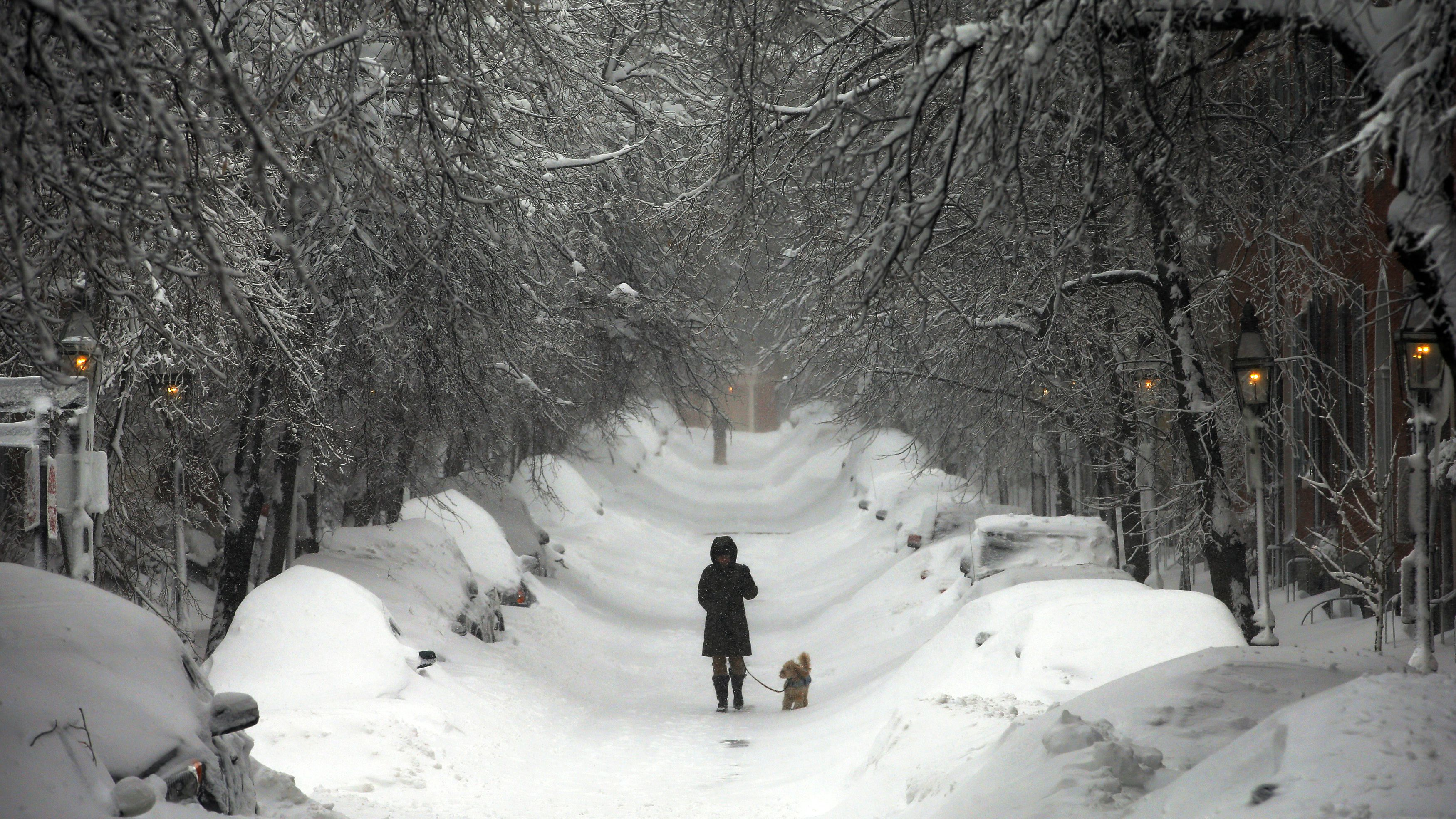 A woman walks down Beacon Hill during a severe winter storm in Boston, Massachusetts February 9, 2013. A blizzard pummelled the Northeastern United States, killing at least one person, leaving hundreds of thousands without power and disrupting thousands of flights, media and officials said. REUTERS/Brian Snyder (UNITED STATES - Tags: ENVIRONMENT DISASTER)