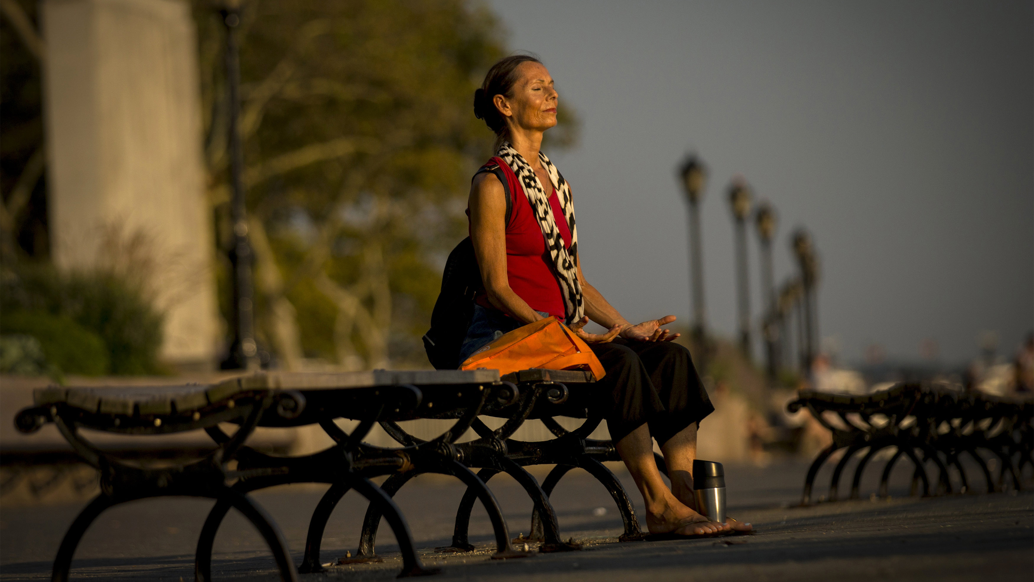 A woman takes in the sun just before sunset at the southern tip of Manhattan in New York's Battery Park, September 2, 2014. The temperature hit 92 degrees Fahrenheit (33 degree Celsius) in Central Park today for the first time in 2014. REUTERS/Brendan McDermid