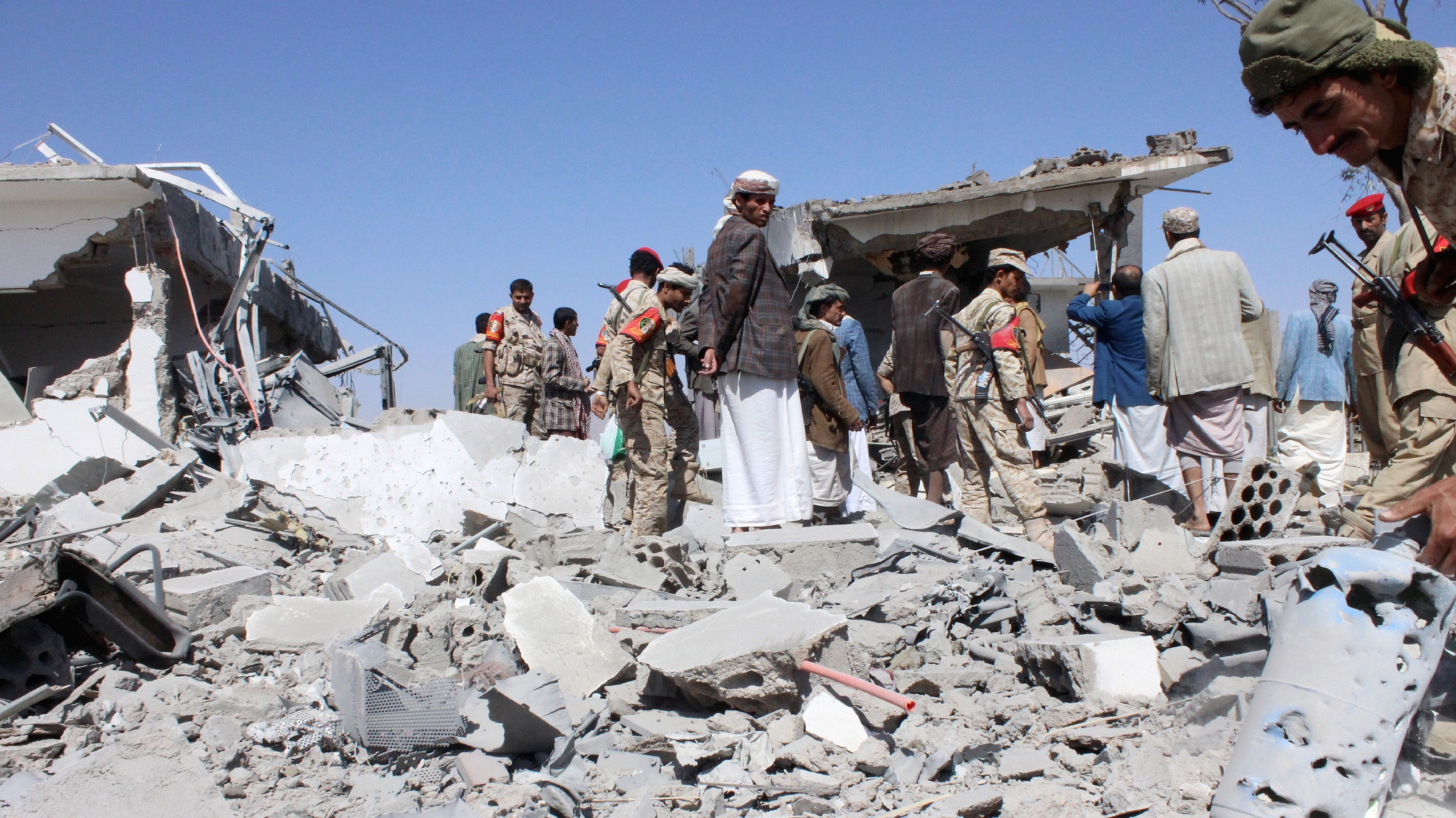 Warplanes struck the Yemeni capital of Sanaa overnight and after daybreak on Monday, residents said, the fifth day of a campaign by Saudi-led forces against Houthi forces opposed to President Abd-Rabbu Mansour Hadi.