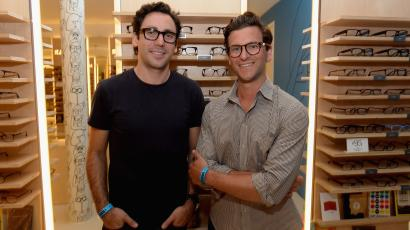 Warby Parker co-founders Neil Blumenthal (L) and Dave Gilboa attend Warby Parker's store opening in The Standard, Hollywood on August 15, 2013 in Los Angeles, California.