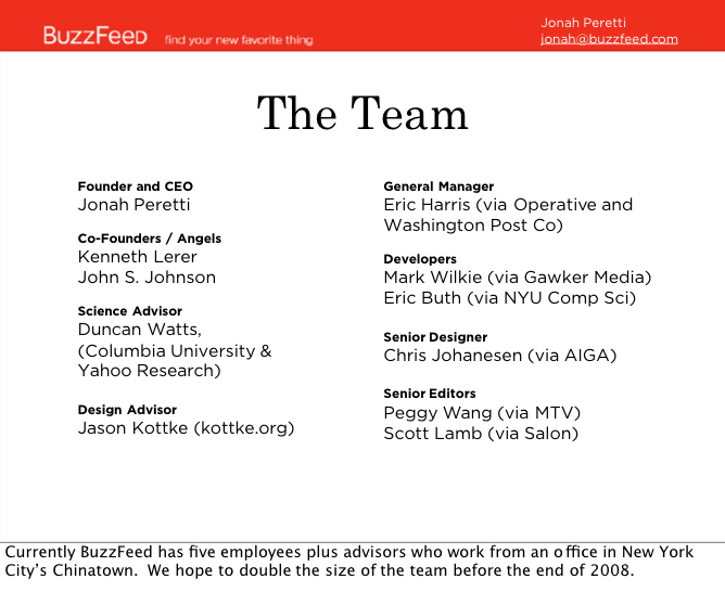 Here is BuzzFeed's first pitch deck to investors in 2008