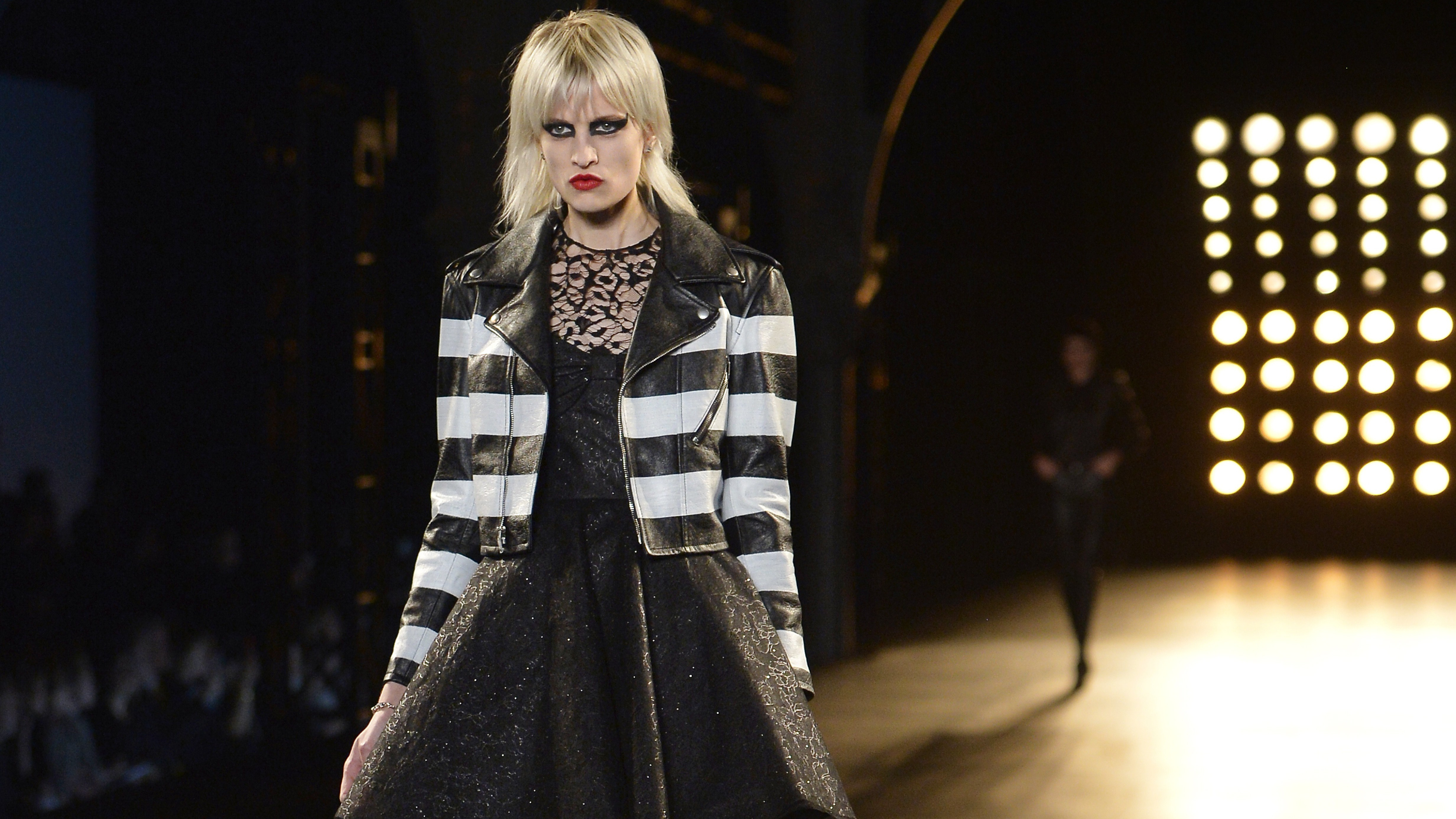 A model presents a creation for Saint-Laurent during the 2015-2016 fall/winter ready-to-wear collection fashion show on March 9, 2015 in Paris.