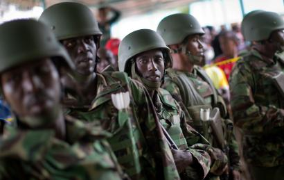 Kenya Defence Forces (KDF) soldiers arrive at a hospital