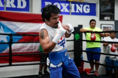 Manny Pacquiao training for the fight.
