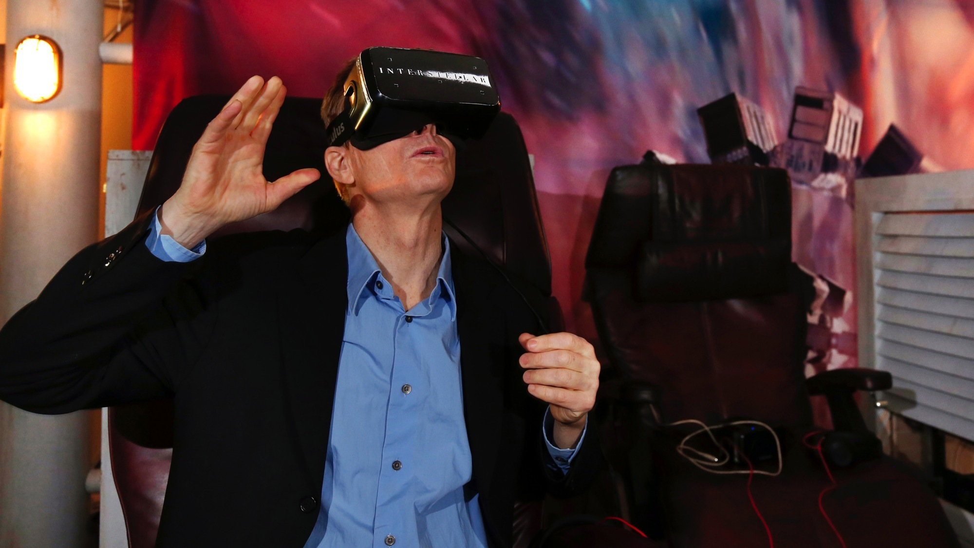 IMAGE DISTRIBUTED FOR PARAMOUNT HOME MEDIA DISTRIBUTION - Actor Bill Irwin experiences Interstellar virtual reality at SXSW, Friday, March 13, 2015, in Austin, Texas. The global blockbuster debuts on Digital HD March 17 and on Blu-ray March 31. (Photo by Jack Dempsey/Invision for Paramount Home Media Distribution/AP Images)