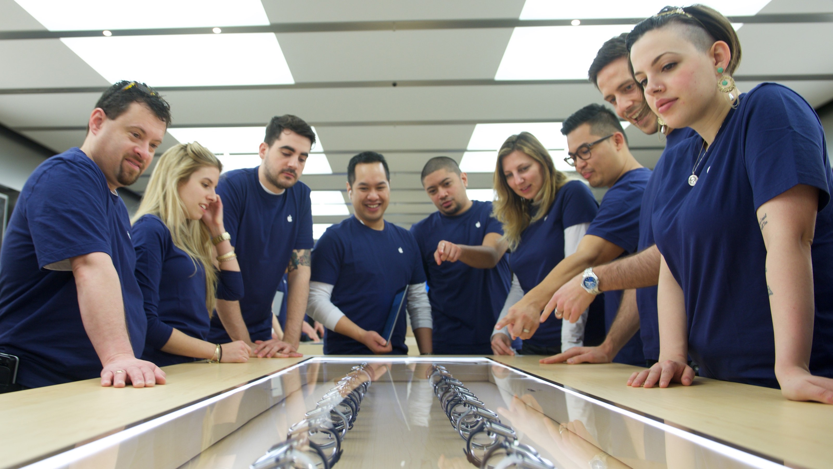 Apple Team Members prepare for the release of the Apple Watch at the Eaton Centre Apple Store on Friday, April 10, 2015 in Toronto. (Photo by Ryan Emberley/Invision for Apple/AP Images)