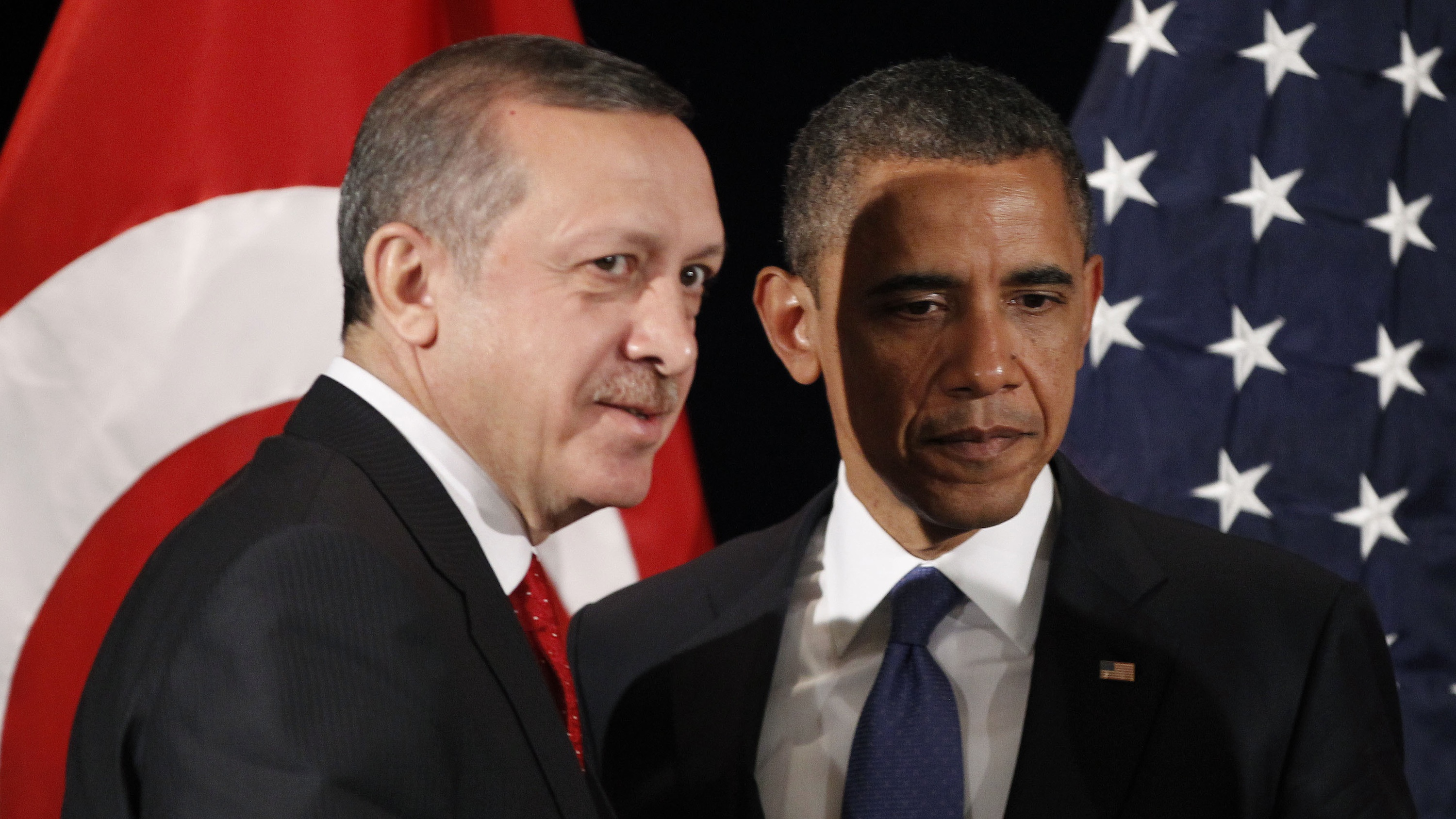 Turkish president Recep Tayyip Erdogan (left), a passionate denier of the Armenian genocide, with US president Barack Obama (right) in 2015.