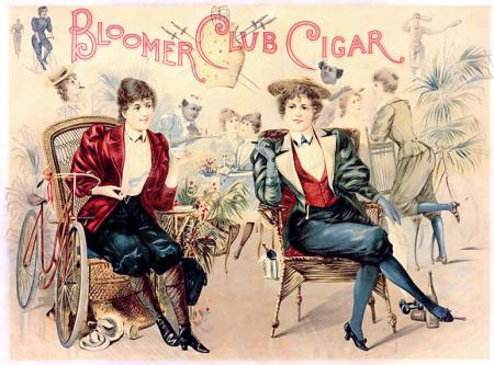 An 1890s caricature of women in bloomers featured on the lid of a cigar box