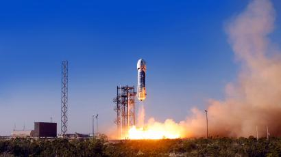 Blue Origin's New Shepherd Spacecraft takes off for the first time.
