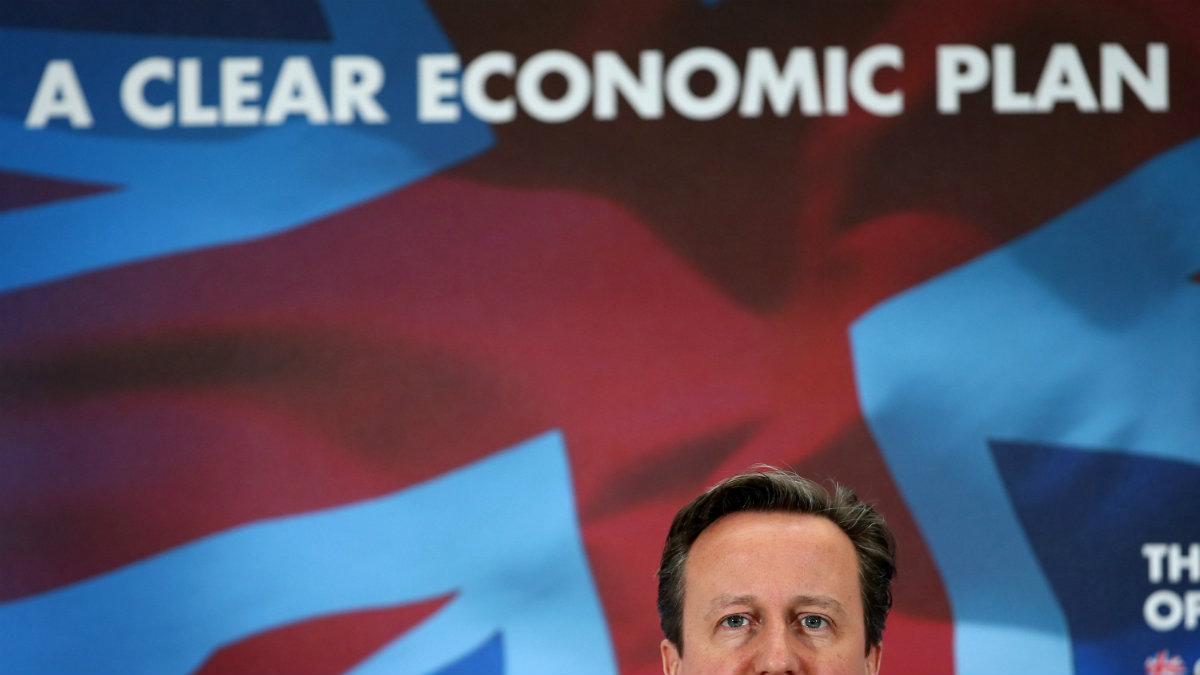 Britain's Prime Minister David Cameron addresses Fujitsu employees in Birmingham, England.