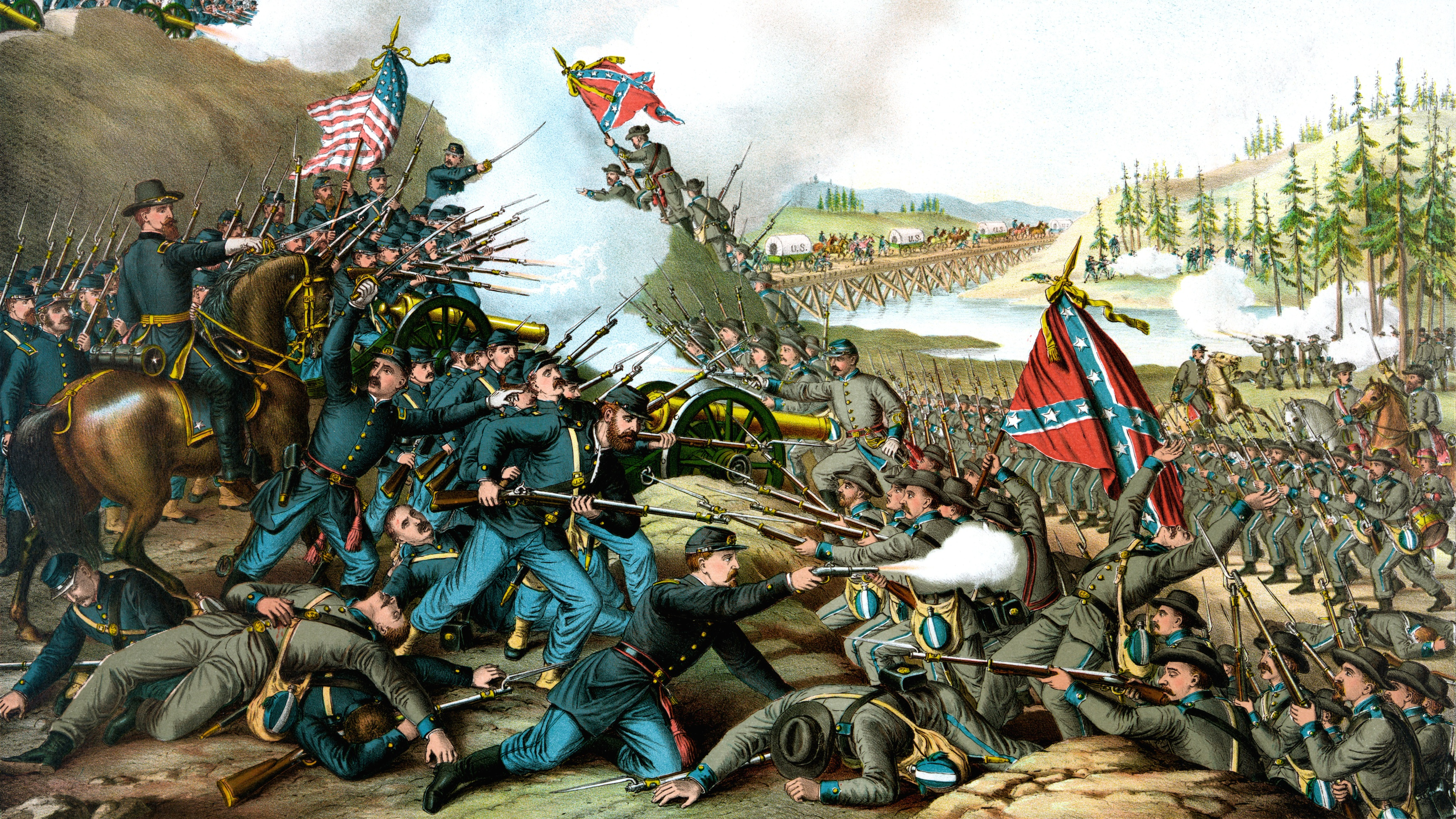 Union and Confederate troops clash at the Battle of Franklin in Tennessee, 1864.
