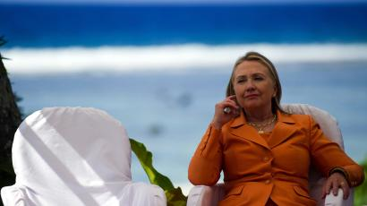 US Secretary of State Hillary Clinton prepares to speak during a event on peace and security in the Pacific in Rarotonga, Cook Islands, August 31, 2012.