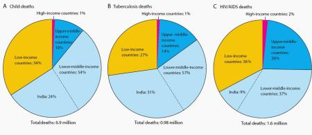 Pie charts of worldwide deaths by economic cohort