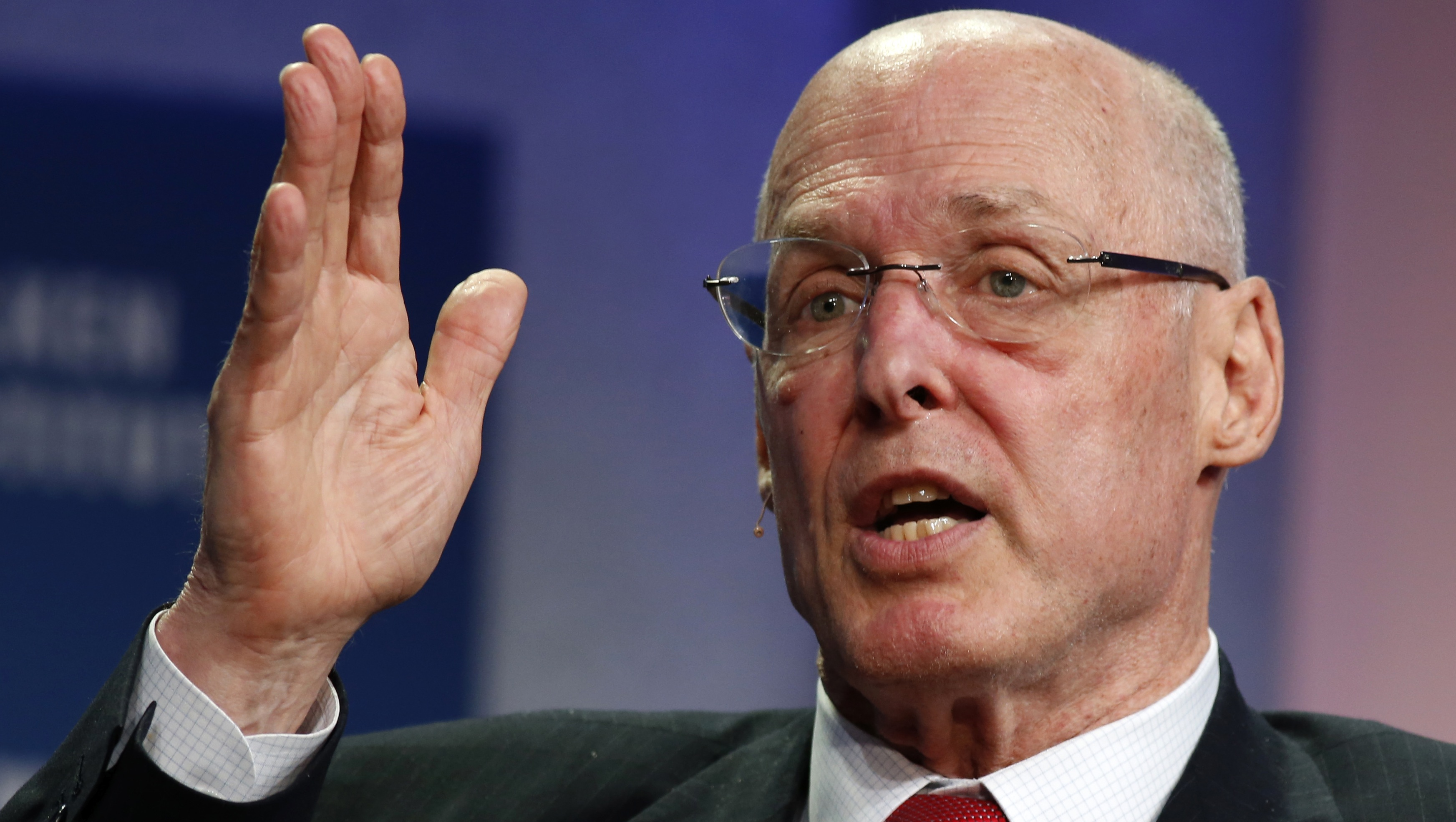 Hank Paulson, Chairman of The Paulson Institute and former U.S. Treasury Secretary, speaks at the 2014 Milken Institute Global Conference in Beverly Hills, California April 28, 2014. REUTERS/Lucy Nicholson
