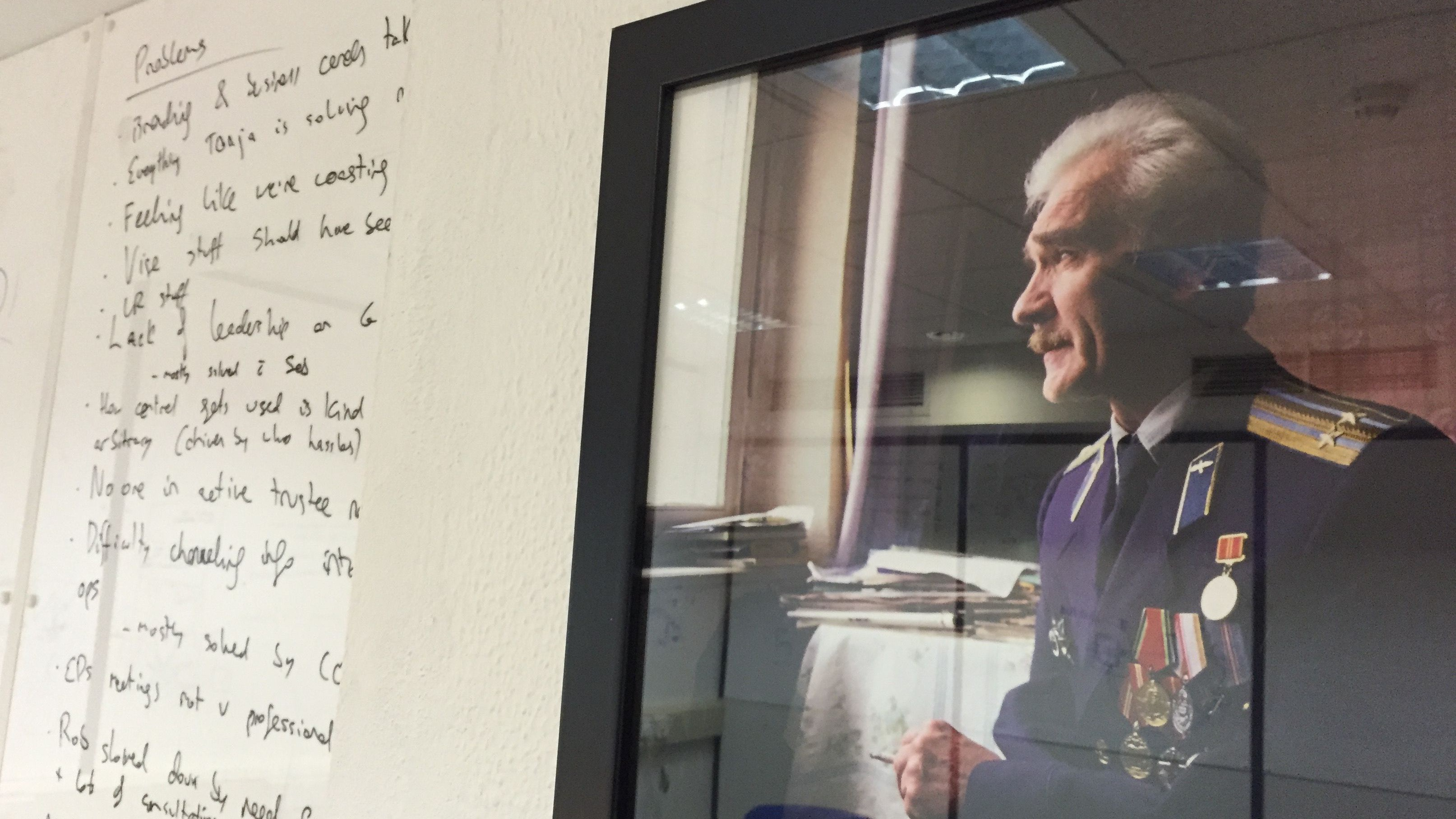 Stanislav Petrov watches over the Oxford researchers.