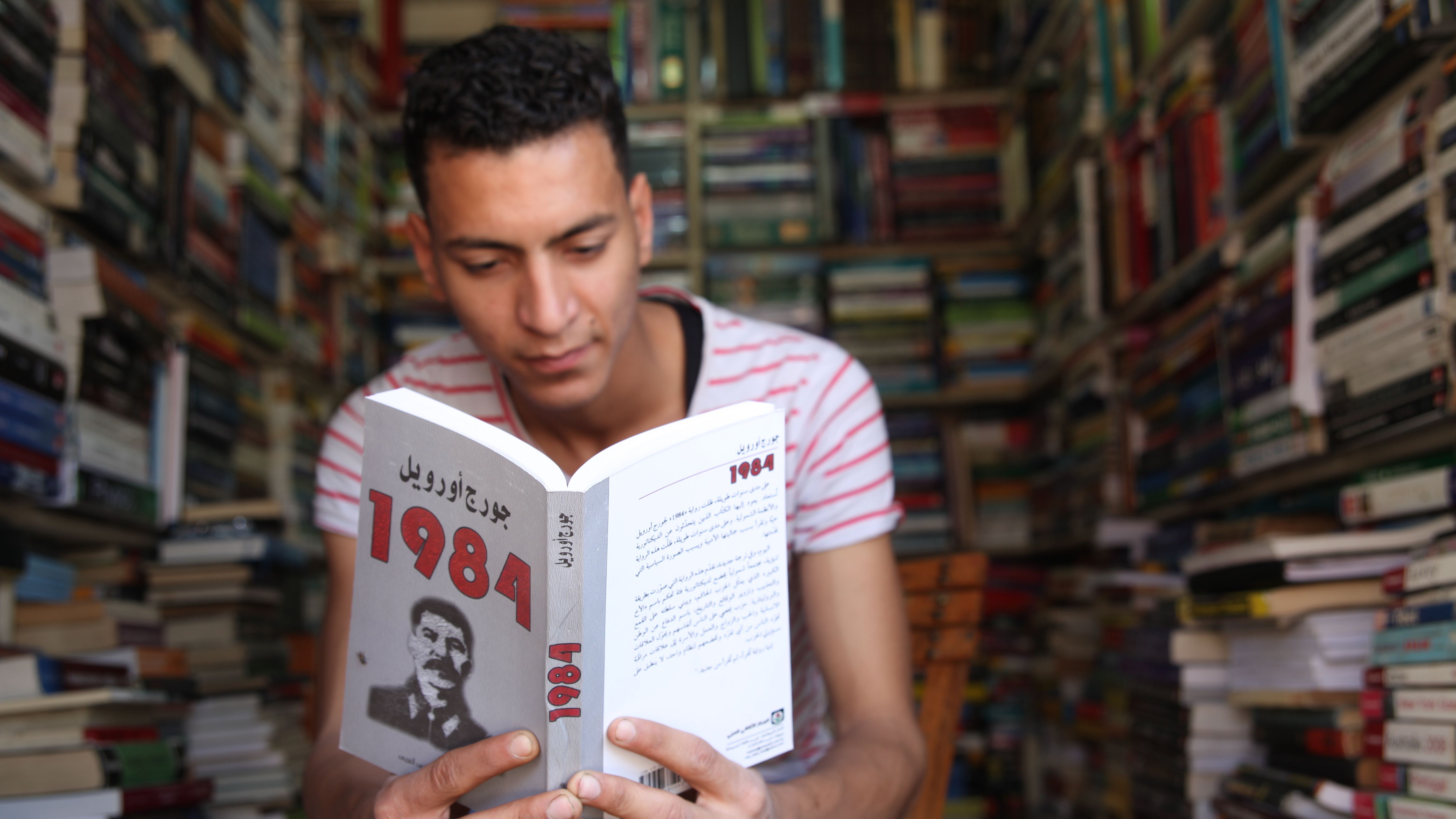 Man reading Orwell's 1984 in a Cairo bookstore