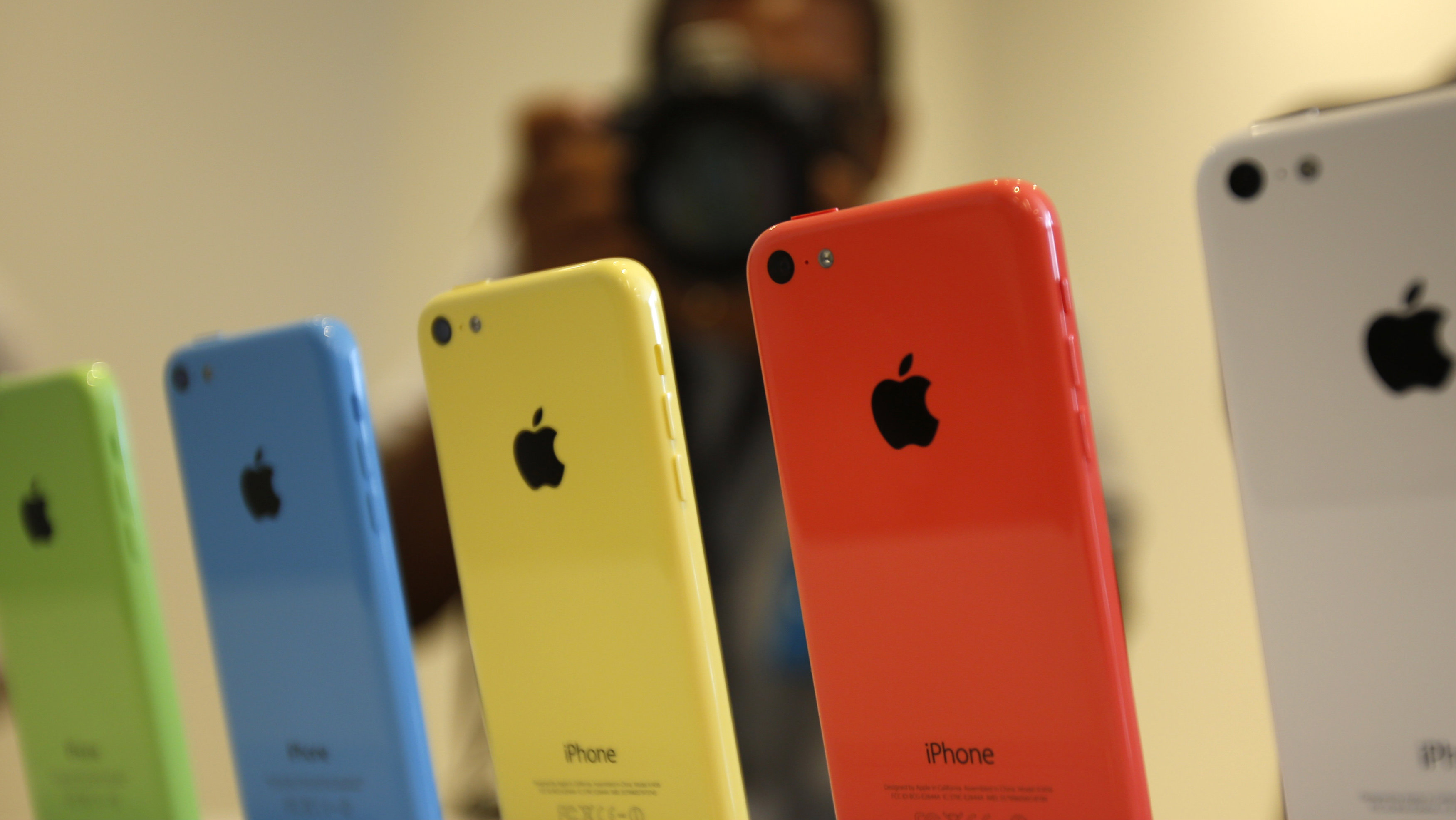 The five colors of the new iPhone 5C are seen after Apple Inc's media event in Cupertino, California September 10, 2013.
