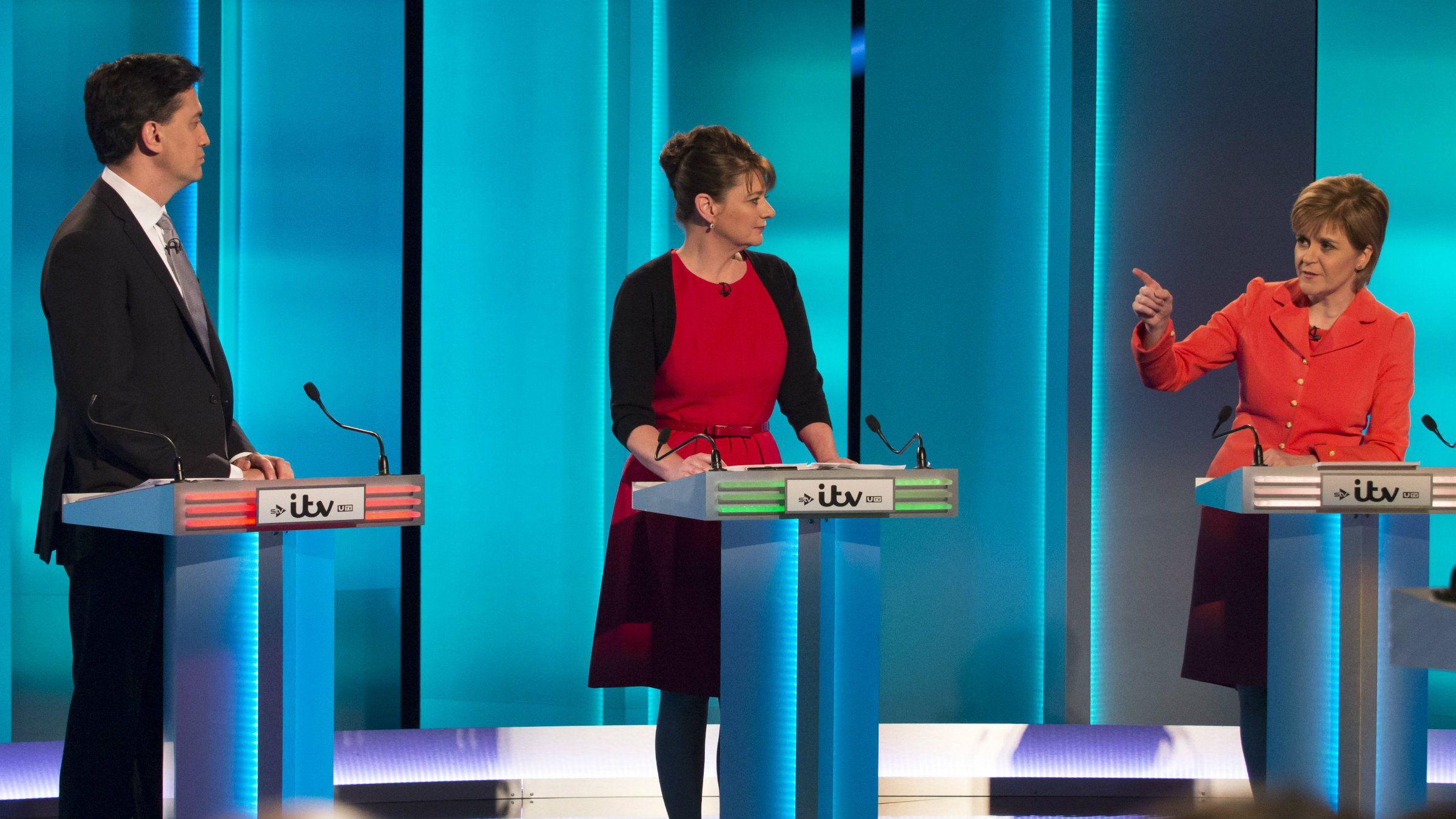 Labour leader Ed Miliband, Plaid Cymru leader Leanne Wood and Scottish National Party's Leader Nicola Sturgeon