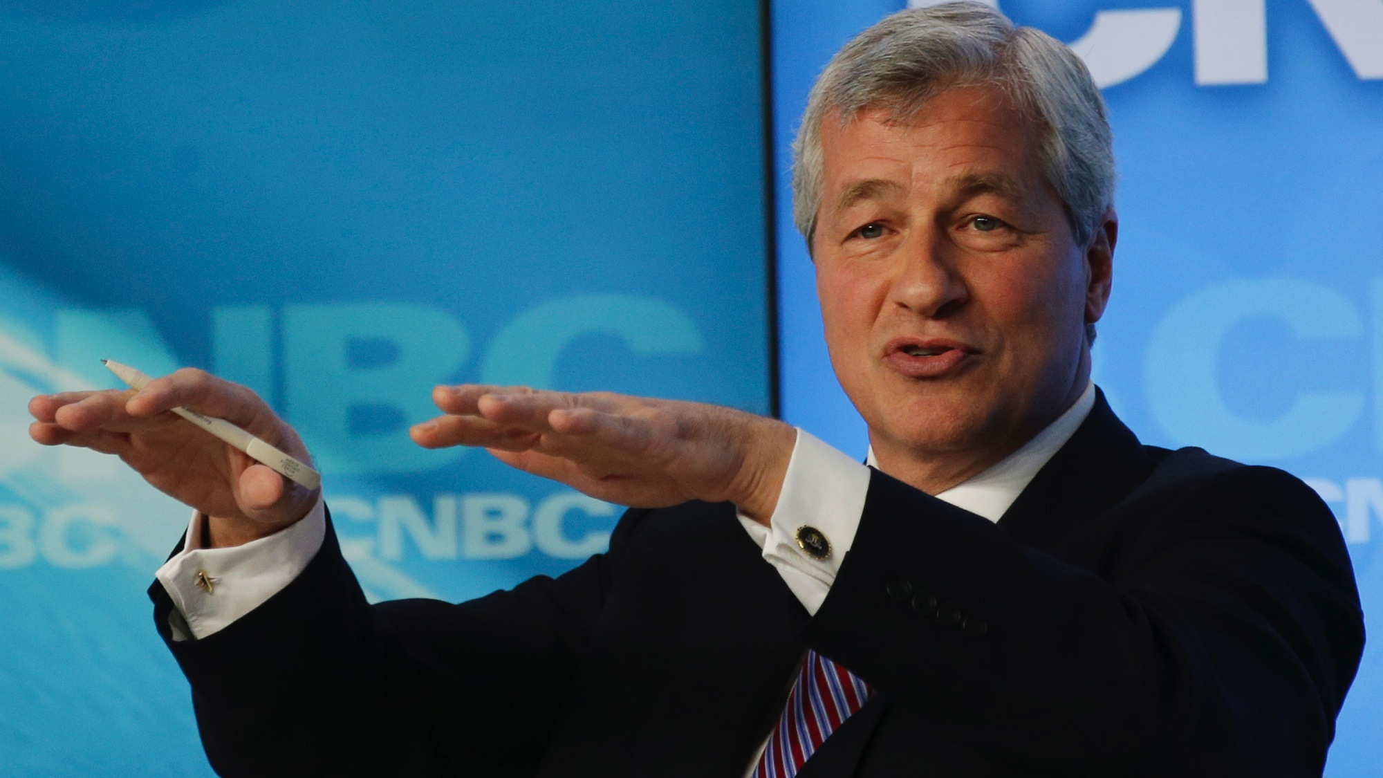 James Dimon of the U.S., chairman and chief executive officer of JP Morgan gestures during the Global Financial Context session at the 43rd Annual Meeting of the World Economic Forum, WEF, in Davos, Switzerland, Wednesday, Jan. 23, 2013.